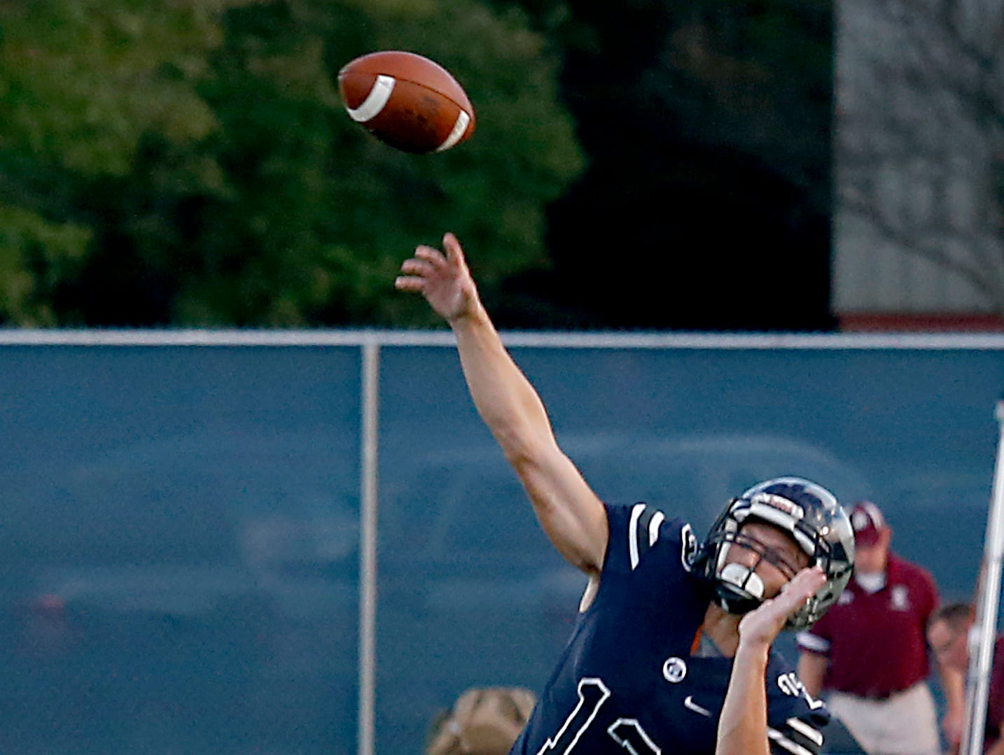 West Clermont quarterback Tristan Petty throws long against Turpin during their 2018 Skyline Chili Crosstown Showdown at West Clermont Friday, Sept. 14, 2018.