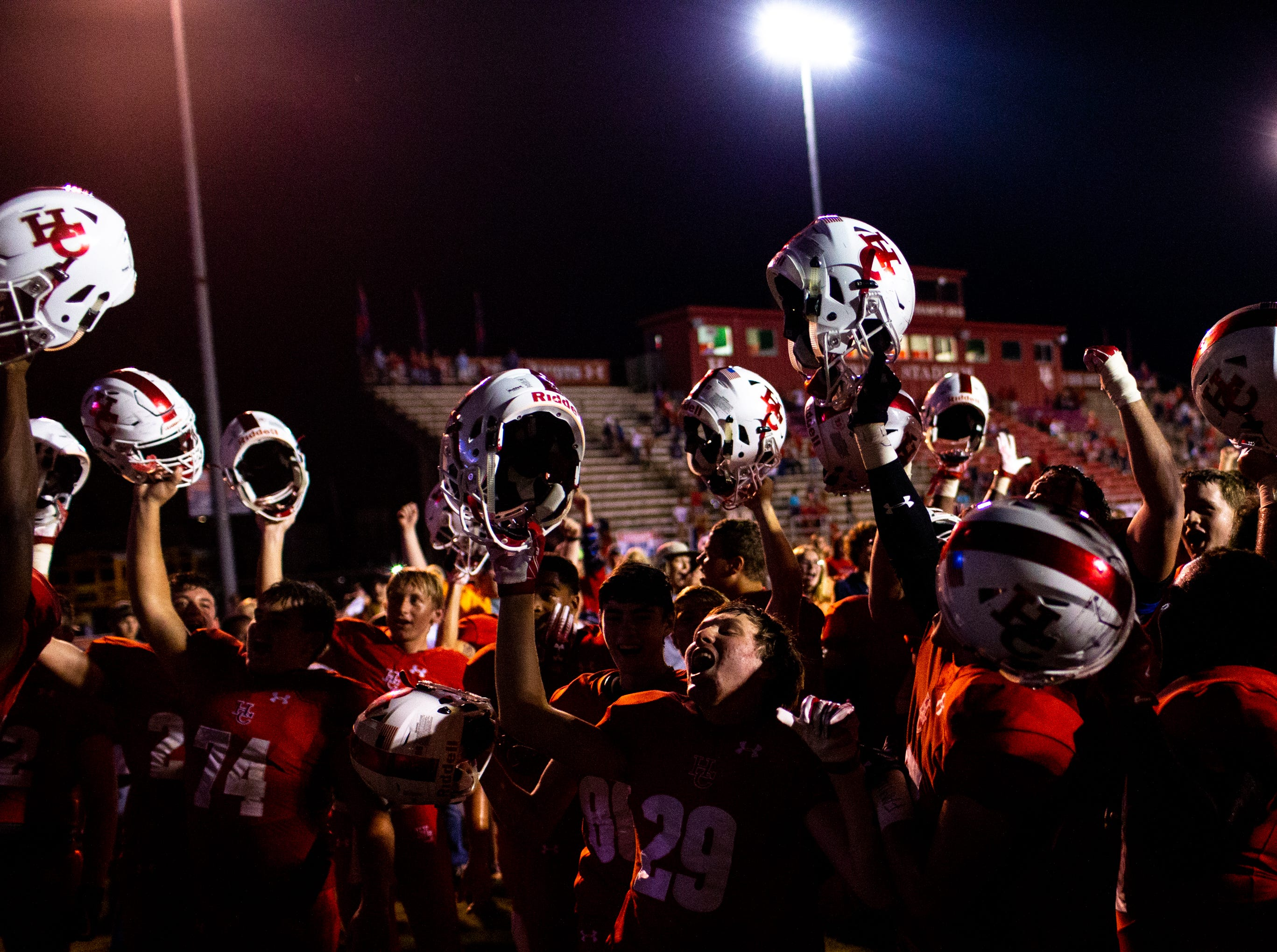 Henry County sings to celebrate their victory after the second half at Henry County Friday, Sept. 14, 2018, in Paris, Tenn.