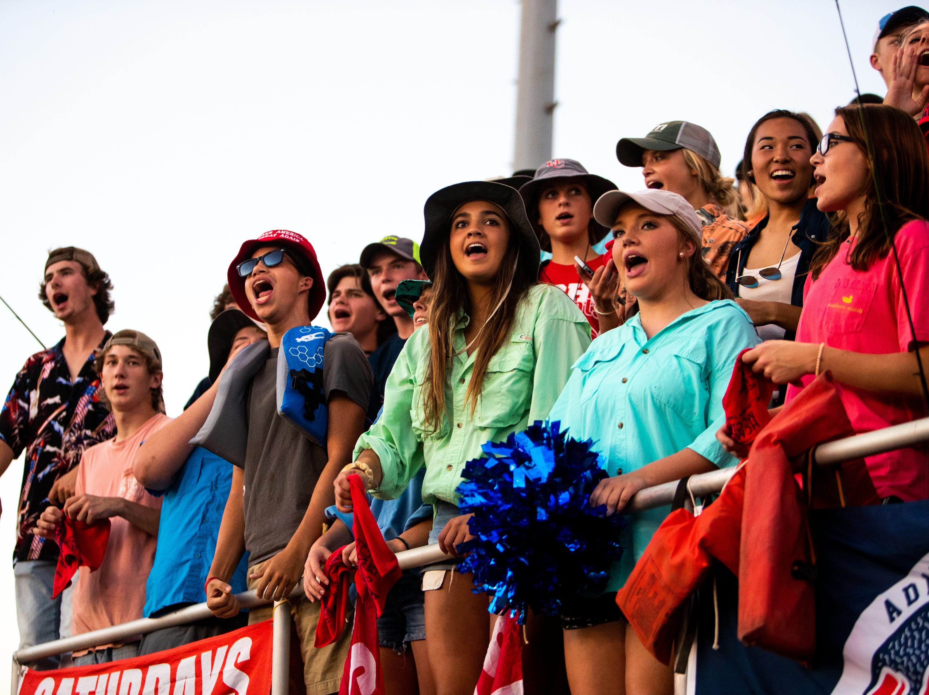 Henry County students cheer for their team during the first half at Henry County Friday, Sept. 14, 2018, in Paris, Tenn.