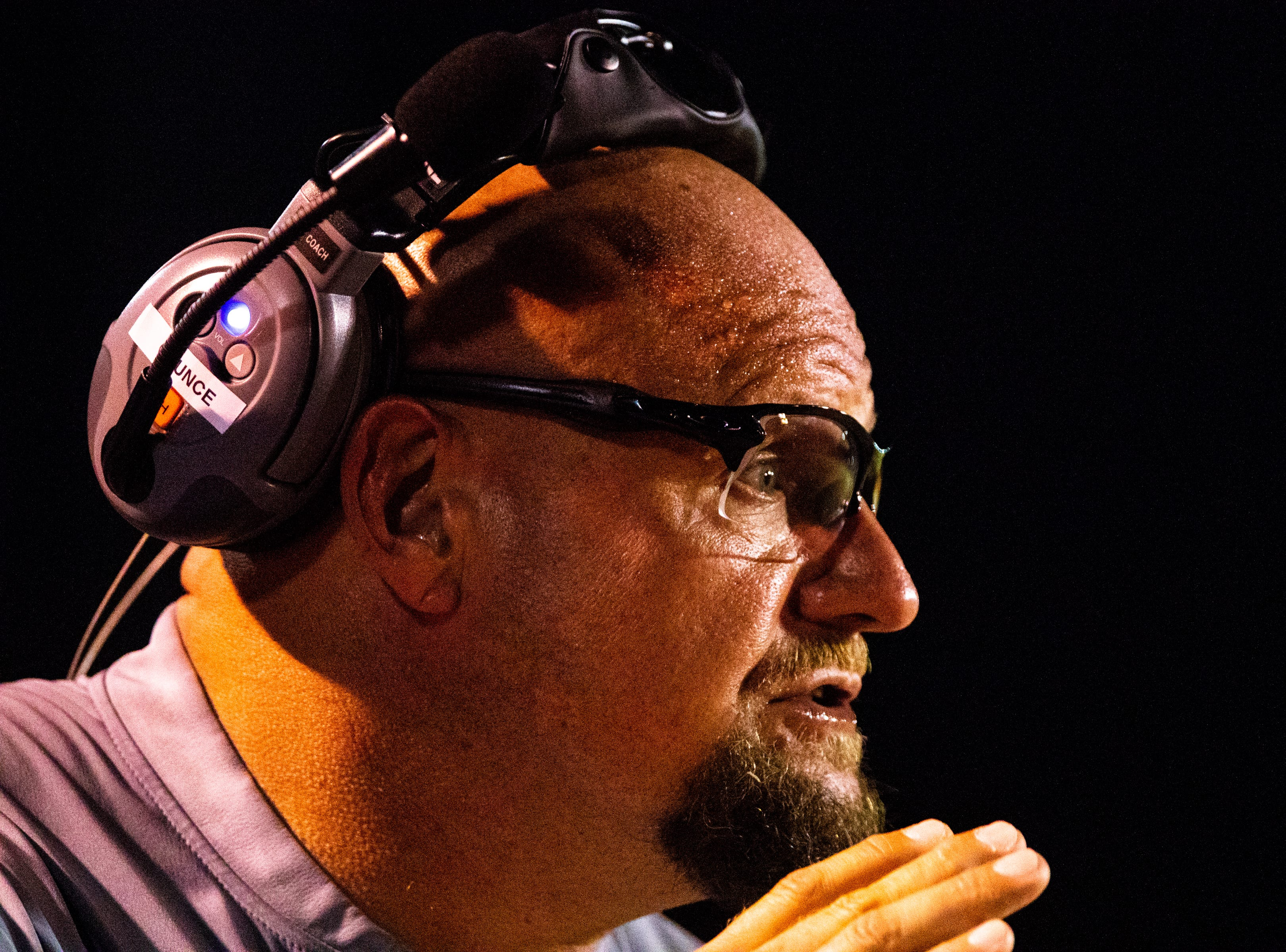 Henry County head coach James Counce Jr. watches his team during the second half at Henry County Friday, Sept. 14, 2018, in Paris, Tenn.