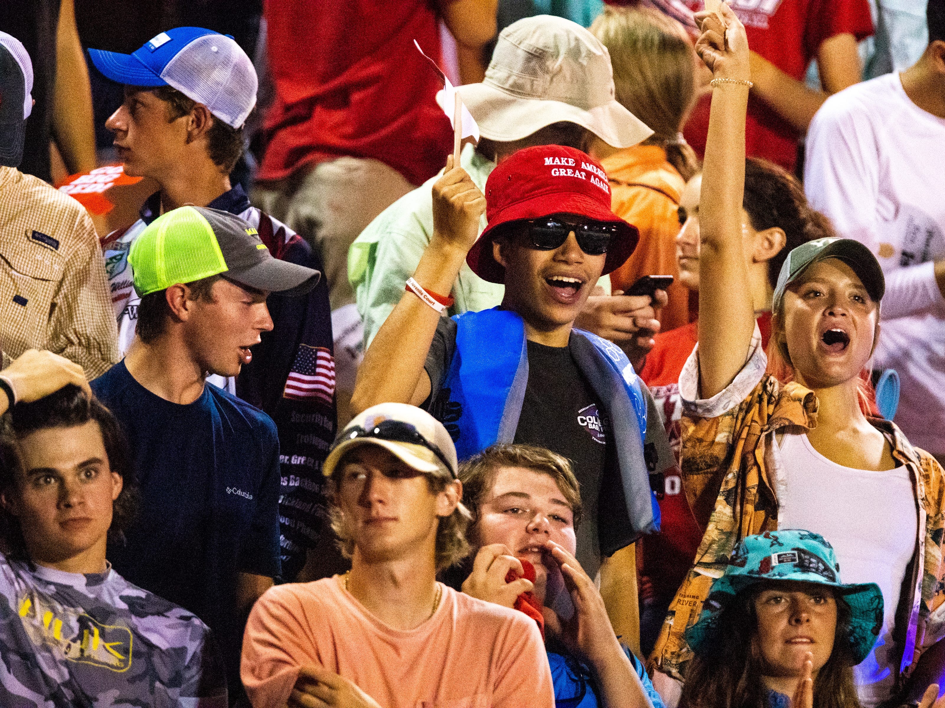 Henry County students cheer for their team during the second half at Henry County Friday, Sept. 14, 2018, in Paris, Tenn.