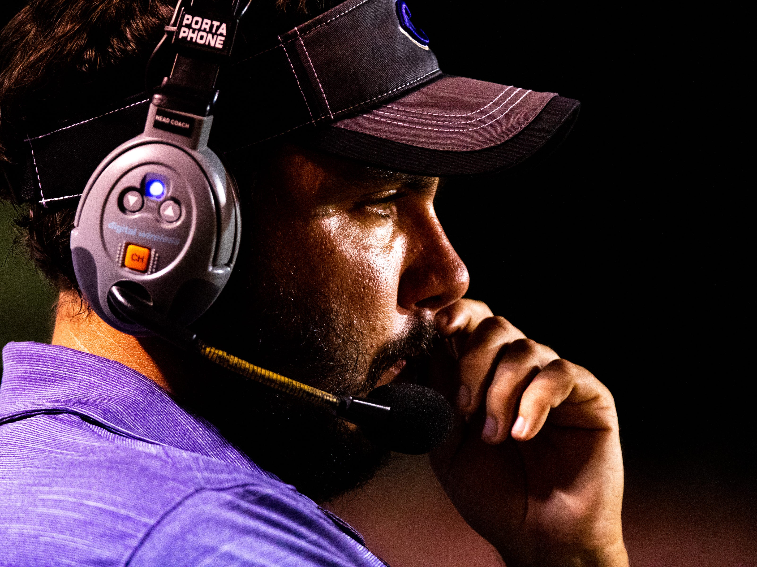 Clarksville High head coach Isaac Shelby watches the game during the first half at Henry County Friday, Sept. 14, 2018, in Paris, Tenn.