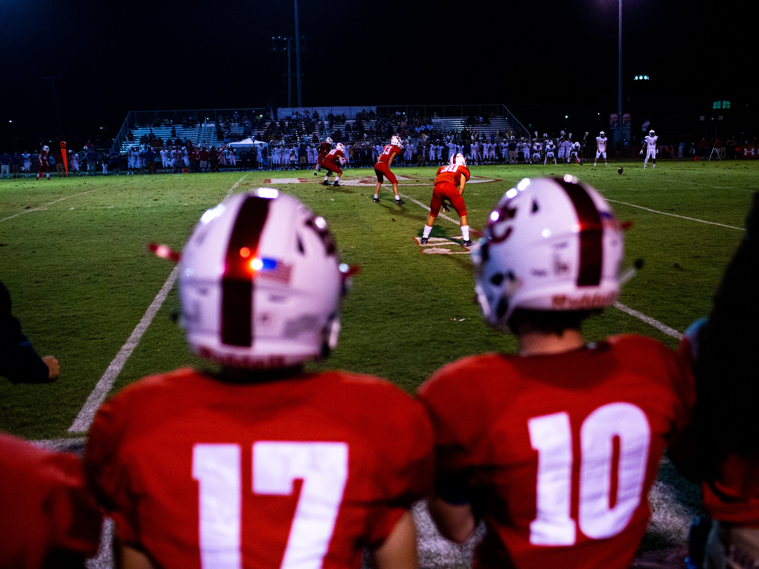 Henry County takes the field to start the second half at Henry County Friday, Sept. 14, 2018, in Paris, Tenn.