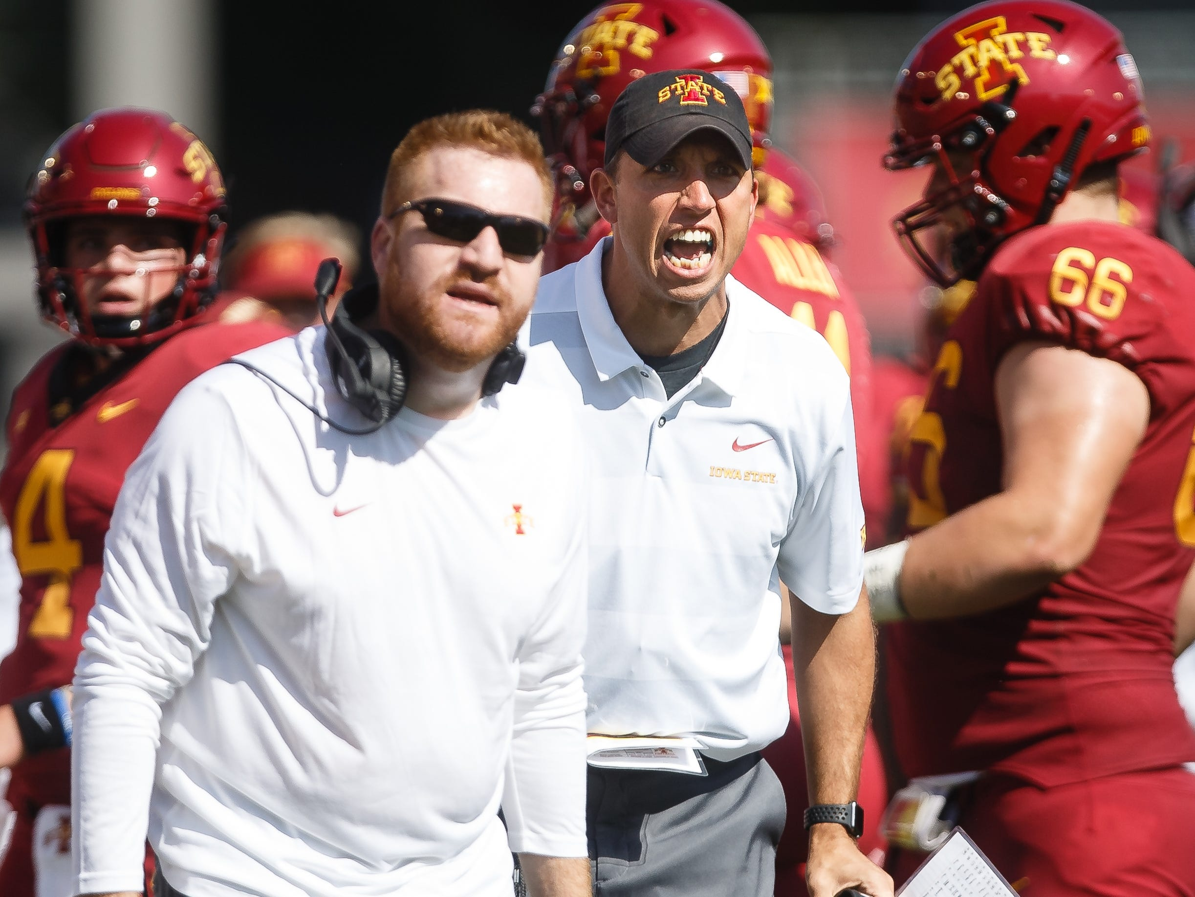 Iowa State coaches including head coach Matt Campbel contest a call during their football game against Oklahoma at Jack Trice Stadium on Saturday, Sept. 15, 2018 in Ames. Oklahoma would go on to win 37-27.