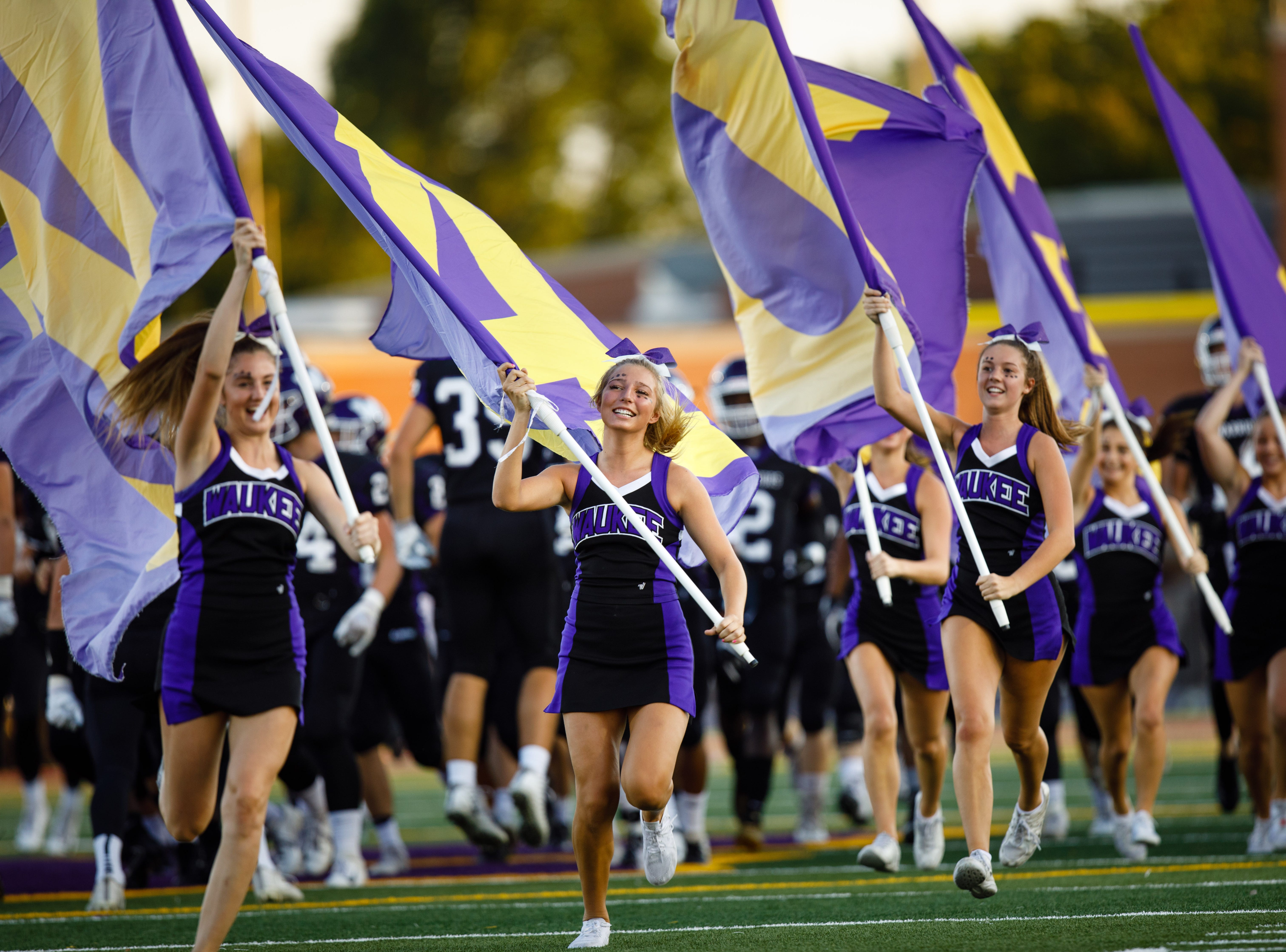 Waukee High School takes the field to play Valley Friday, Sept. 14, 2018, at Waukee Stadium.