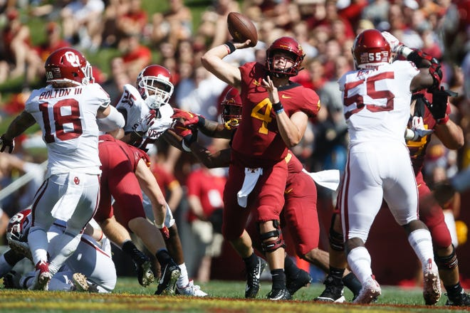 Iowa State's Zeb Noland (4) passes during their football game against Oklahoma at Jack Trice Stadium on Saturday, Sept. 15, 2018 in Ames. Oklahoma would go on to win 37-27.