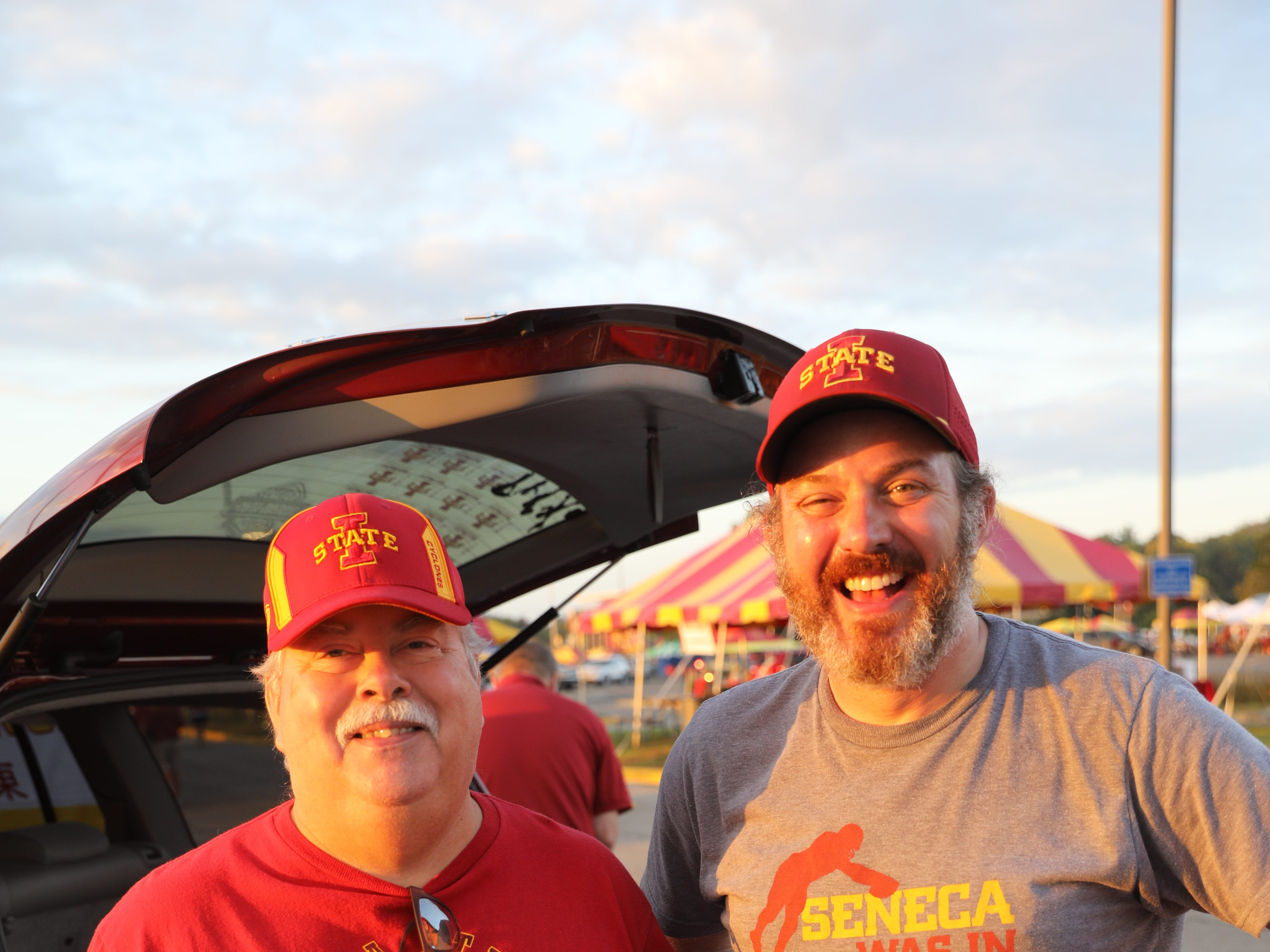 Kerry Showman of Urbandale (left) and Brandon Boelman of West Des Moines Saturday, Sept. 15, 2018, before the Iowa State football game against Oklahoma in Ames.