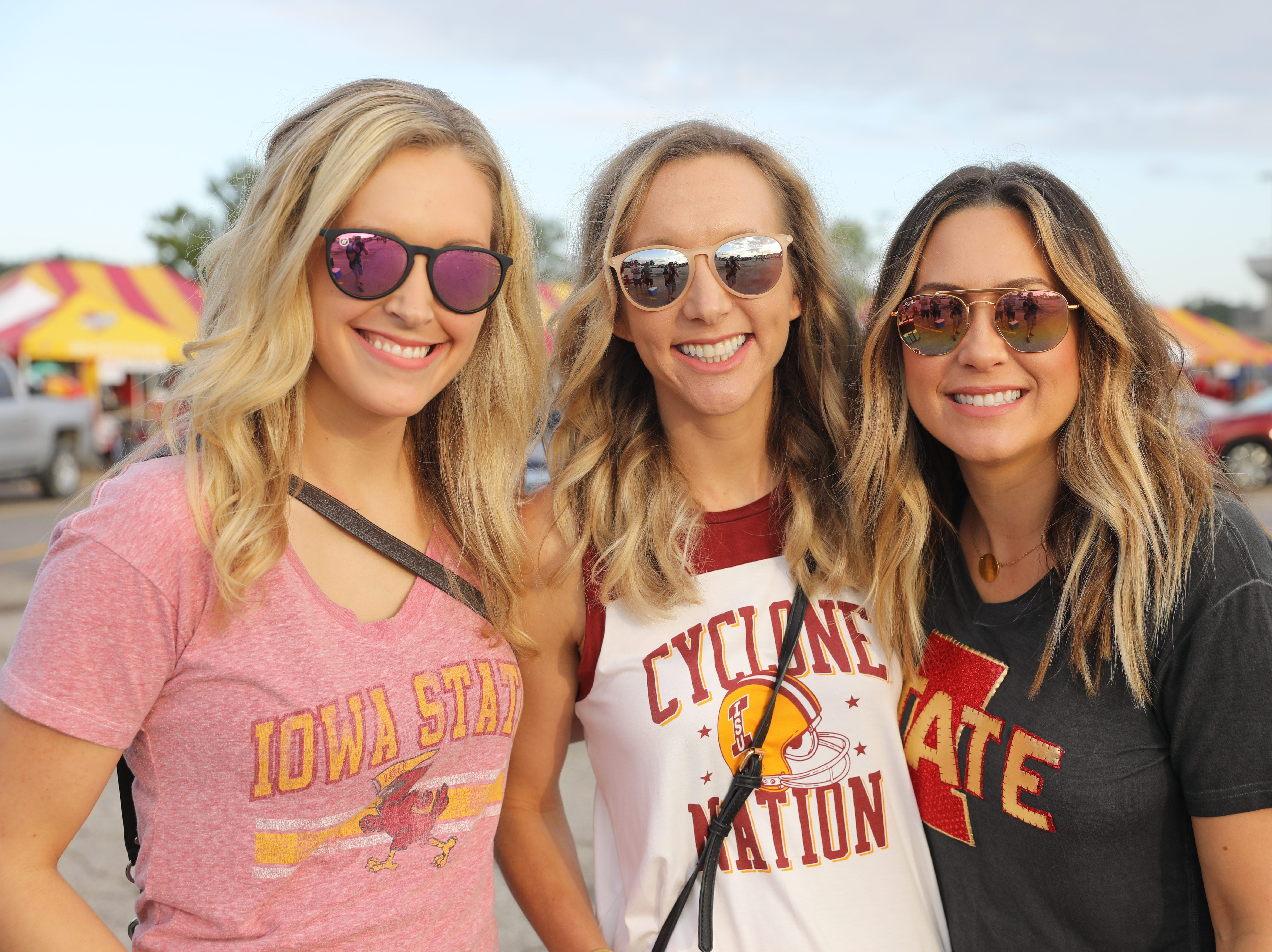 Melissa Wallace of Lake View (from left), Leah Warnemunde of Calamus and Andrea Miller of Osceola Saturday, Sept. 15, 2018, before the Iowa State football game against Oklahoma in Ames.