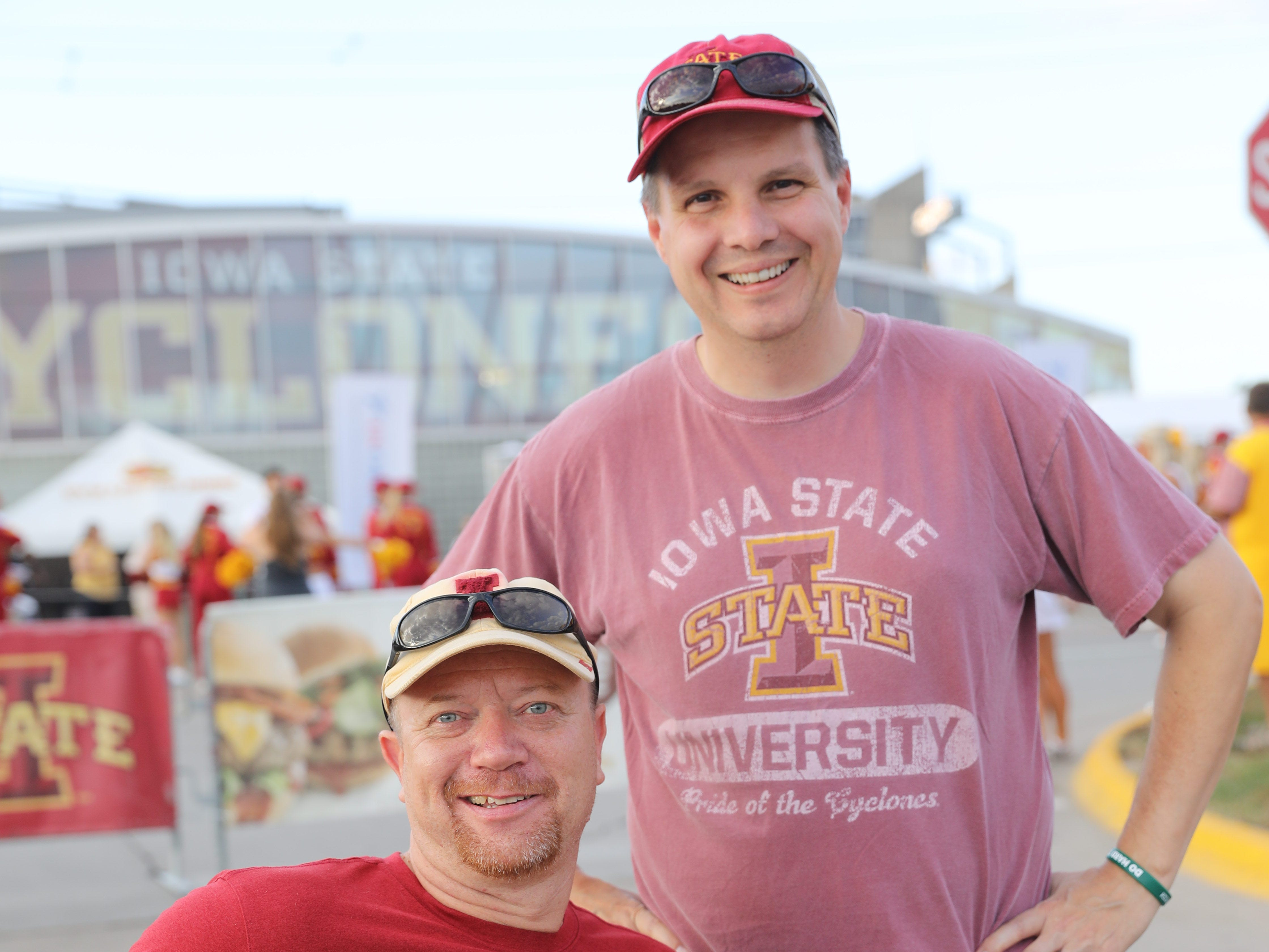 Scott Turczynski of Elkhart (left) and Doug Samuelson of Des Moines, Saturday, Sept. 15, 2018, before the Iowa State football game against Oklahoma in Ames.
