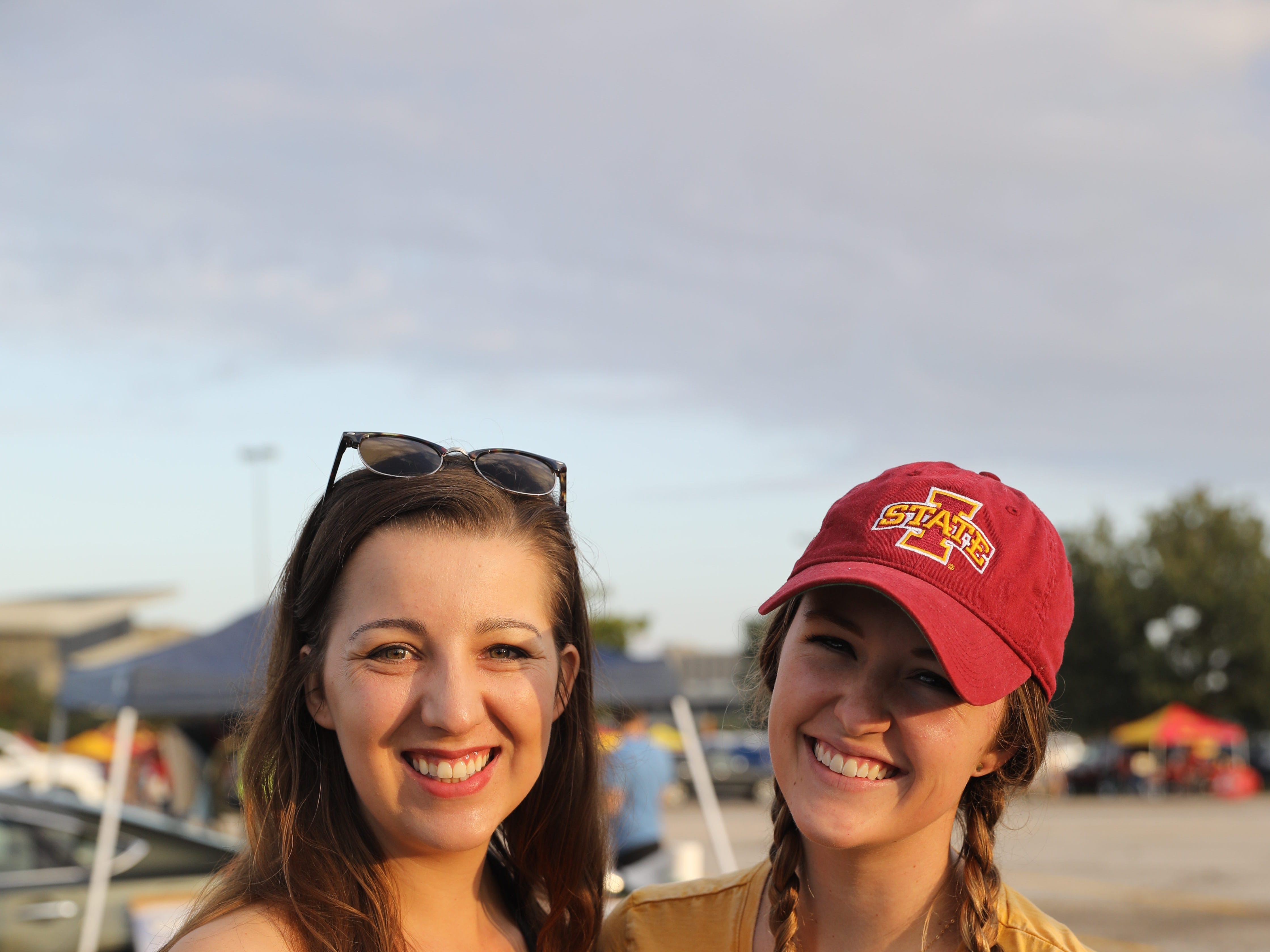 Emily Sherman, 24, (left) and Paige Naschke, 27, both of Minneapolis, Saturday, Sept. 15, 2018, before the Iowa State football game against Oklahoma in Ames.