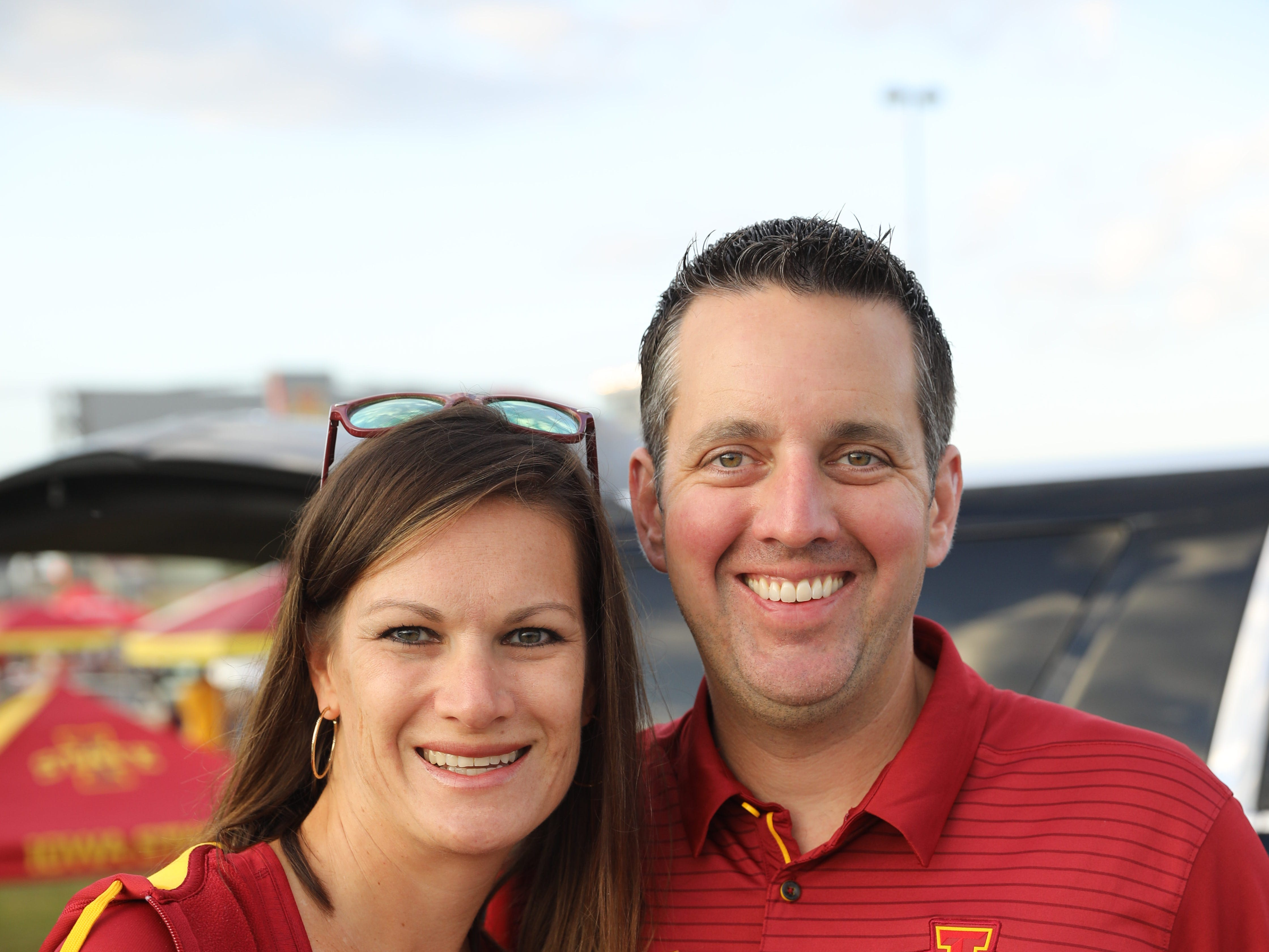 Amy Glandon and Chris Glandon of Omaha Saturday, Sept. 15, 2018, before the Iowa State football game against Oklahoma in Ames.