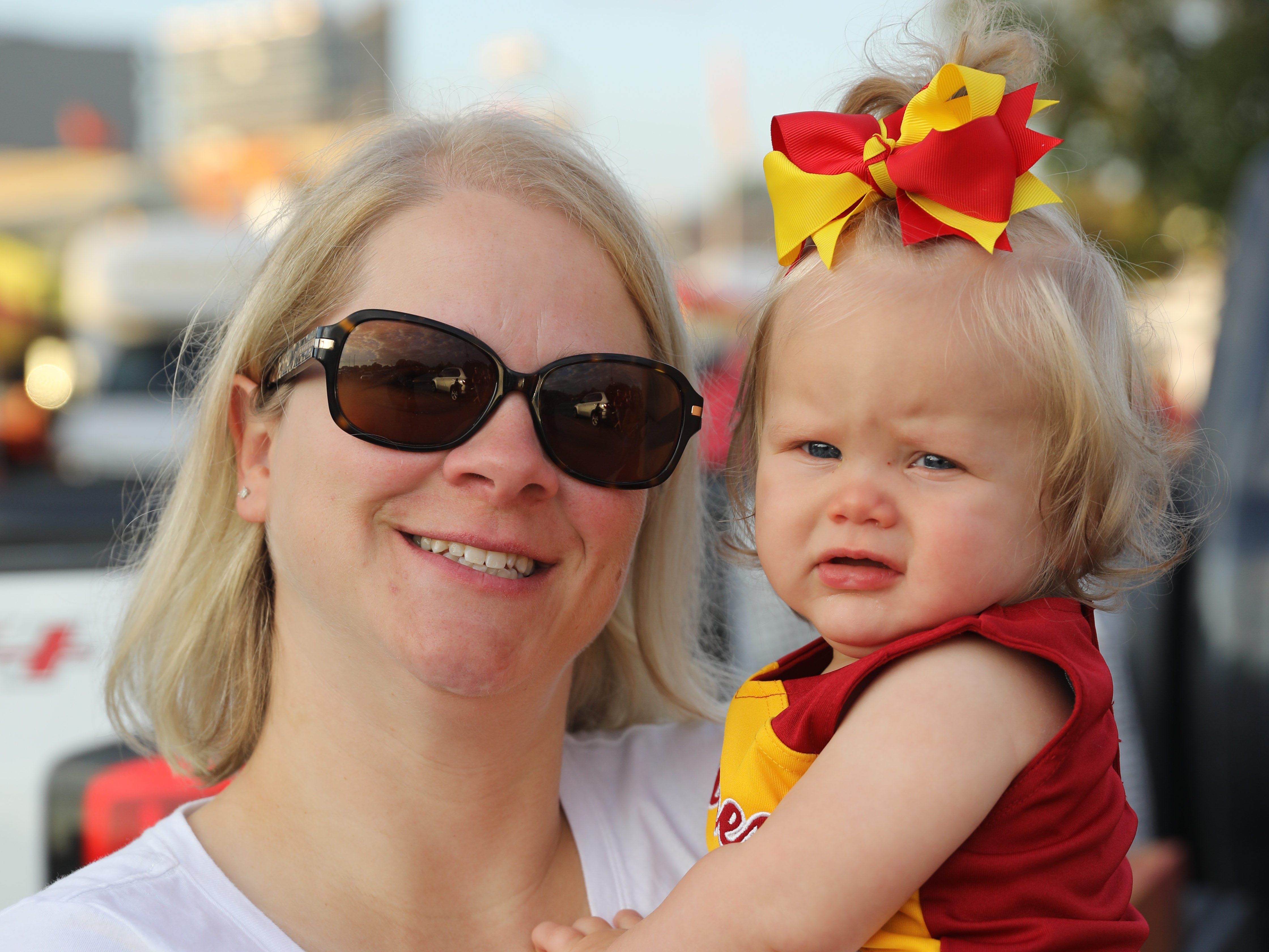 Kirstin Bourke and Breegan Bourke, 9-months, both of Ankeny, Saturday, Sept. 15, 2018, before the Iowa State football game against Oklahoma in Ames.