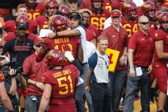 Iowa State's Hakeem Butler (18) and Iowa State head coach Matt Campbell celebrate his touchdown to start the third quarter of their football game at Jack Trice Stadium on Saturday, Sept. 15, 2018 in Ames. Oklahoma would go on to win 37-27.