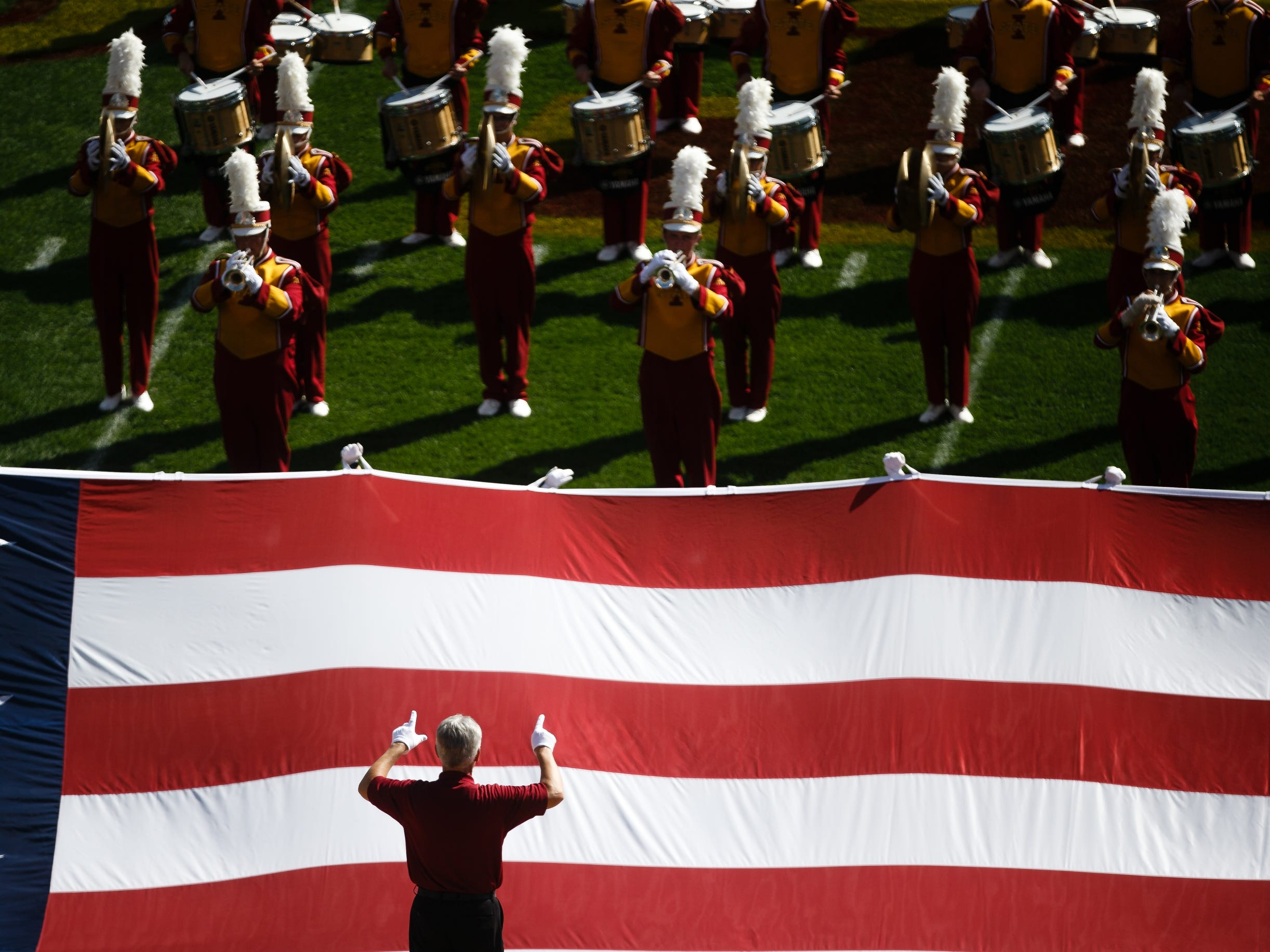 The Iowa State Marching Band plays on the field before Iowa State takes on Oklahoma at Jack Trice Stadium on Saturday, Sept. 15, 2018 in Ames. Oklahoma takes a 24-10 lead into halftime.
