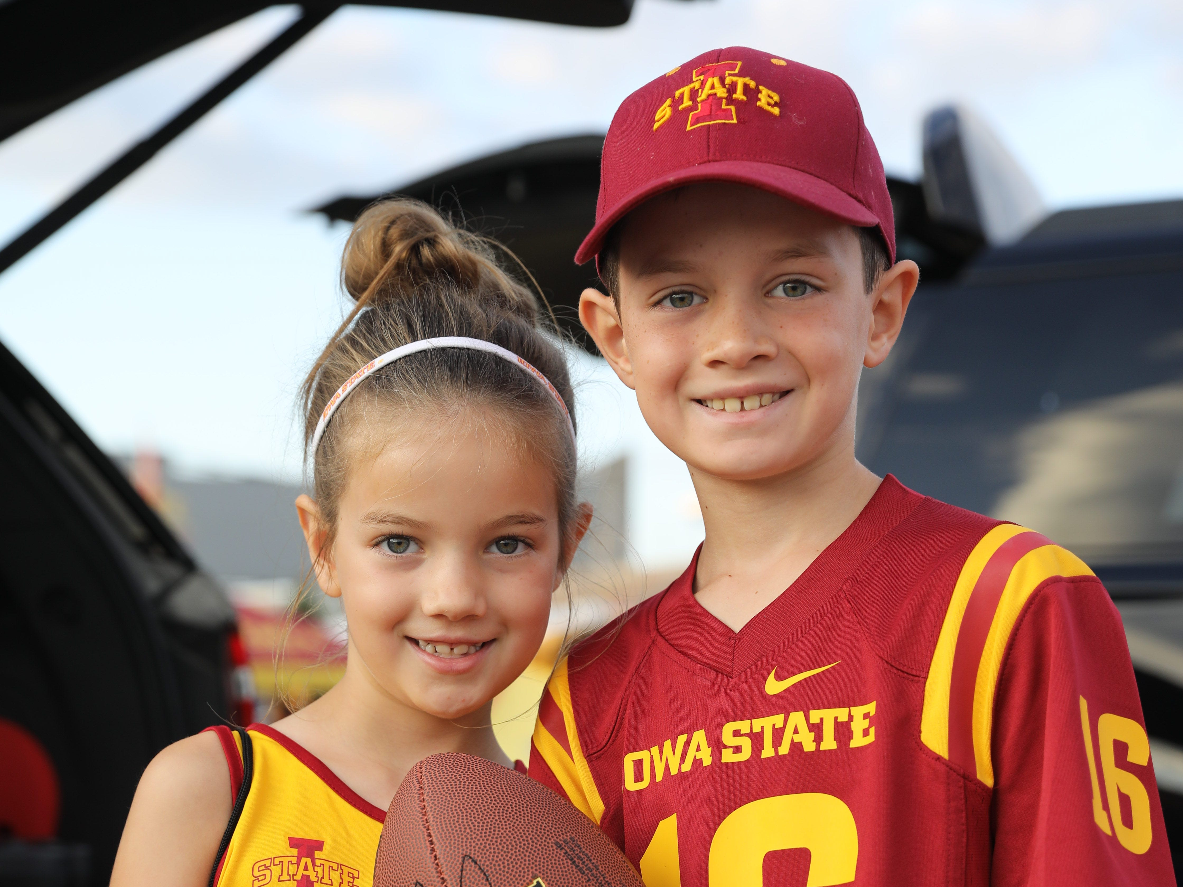 Katelyn Glandon, 6, and Nathan Glandon, 9, of Omaha, Saturday, Sept. 15, 2018, before the Iowa State football game against Oklahoma in Ames.
