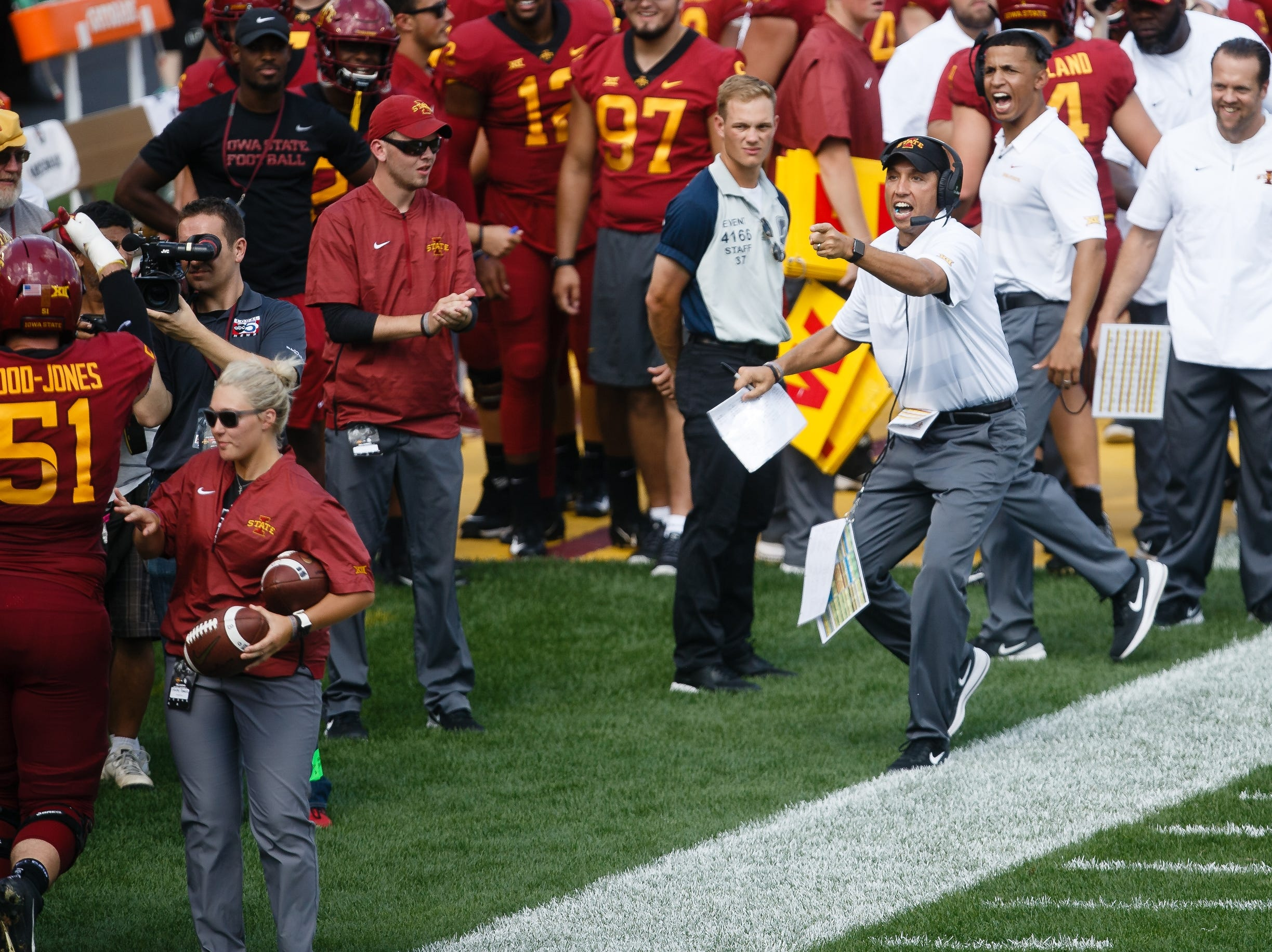 Iowa State head coach Matt Campbell celebrates Hakeem Butler's touchdown catch to start the third quarter of their football game at Jack Trice Stadium on Saturday, Sept. 15, 2018 in Ames. Oklahoma would go on to win 37-27.