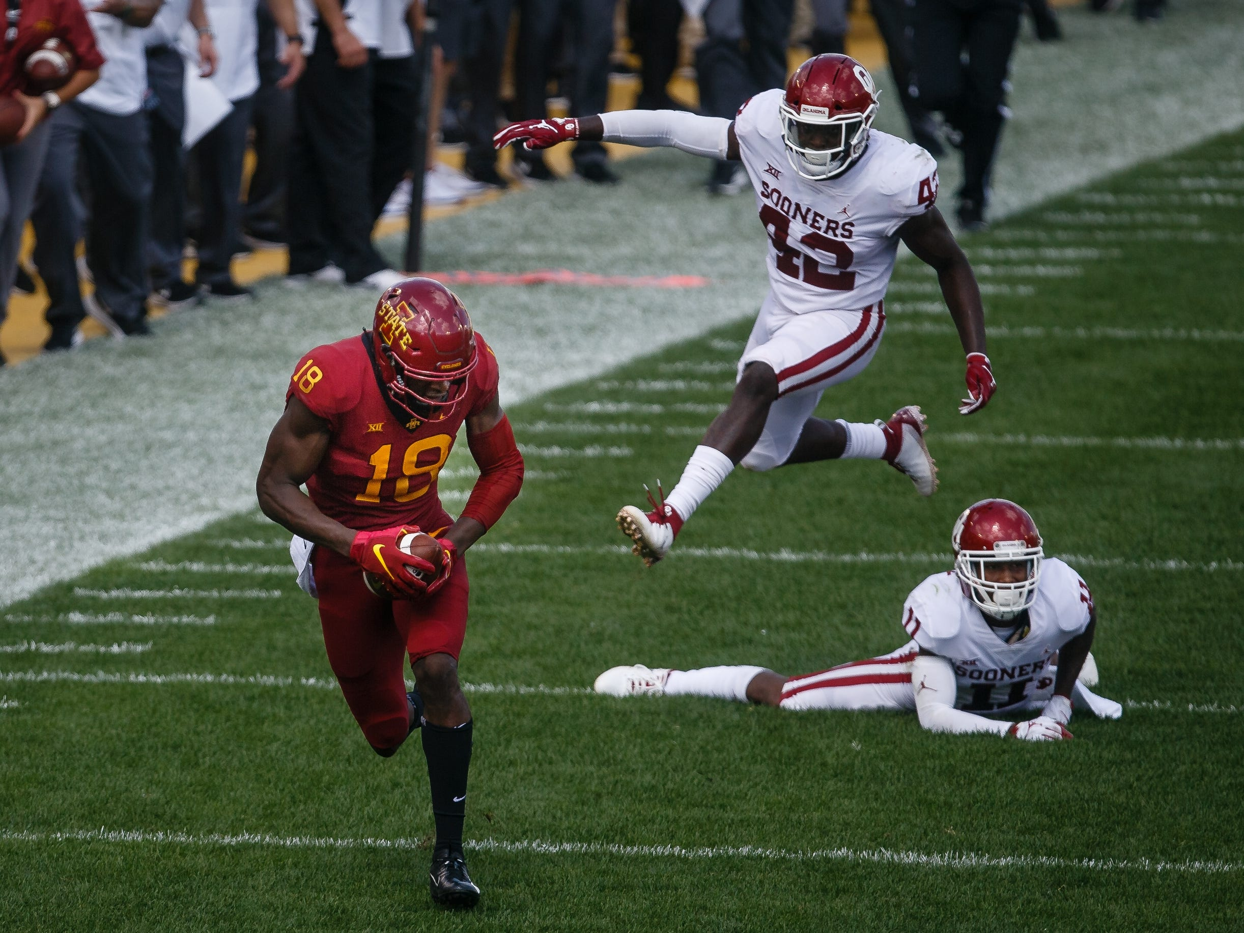 Iowa State's Hakeem Butler (18) makes runs it in for a touchdown to start the third quarter of their football game at Jack Trice Stadium on Saturday, Sept. 15, 2018 in Ames. Oklahoma would go on to win 37-27.