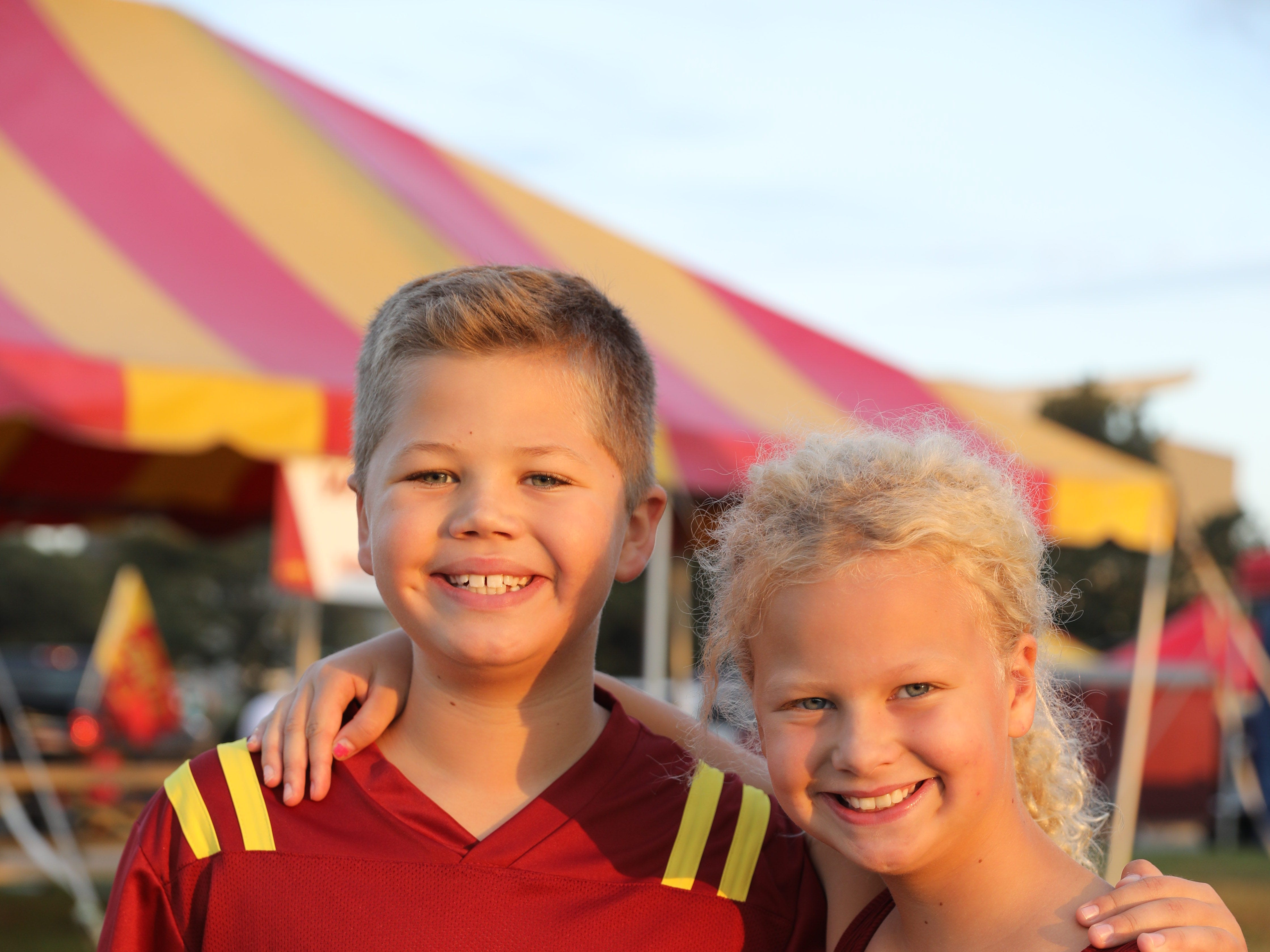 Cole Christensen, 11, and Jenna Christensen, 9, of West Des Moines, Saturday, Sept. 15, 2018, before the Iowa State football game against Oklahoma in Ames.