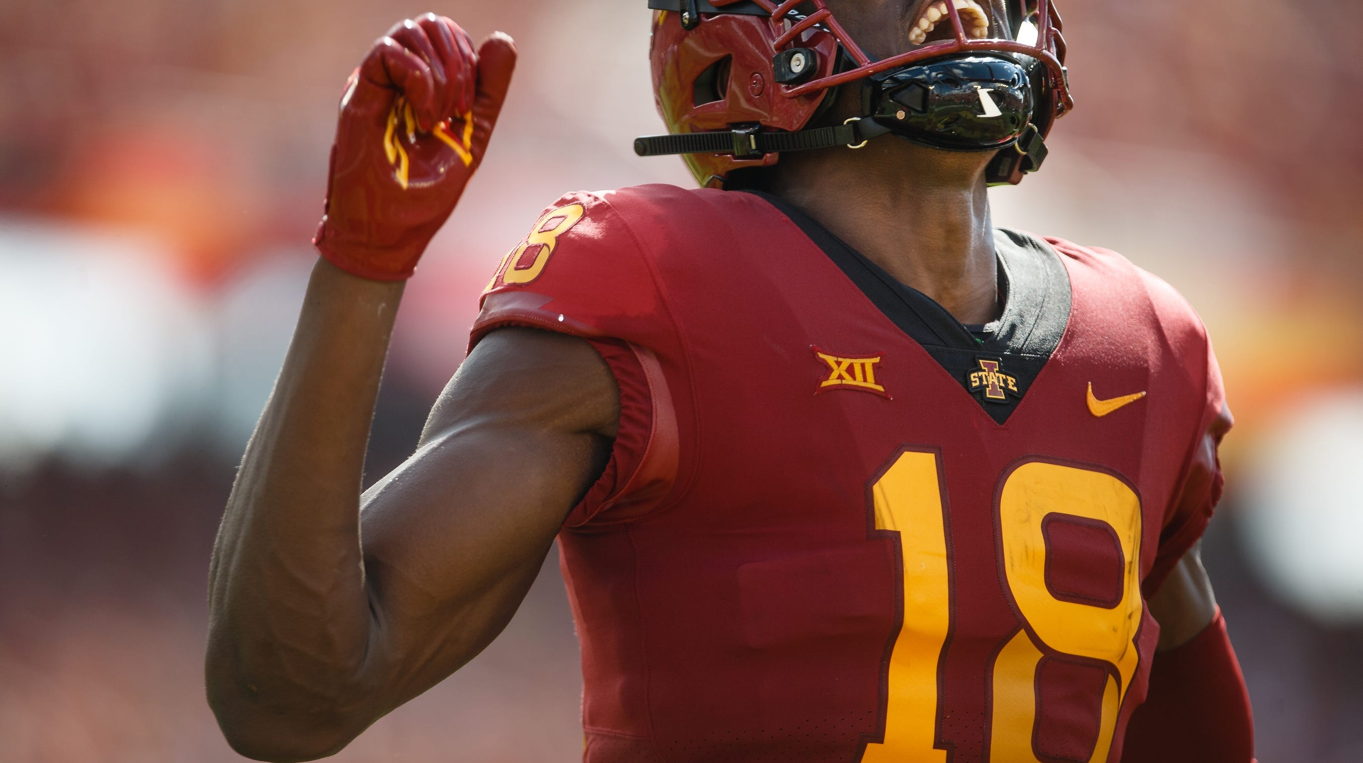 Iowa State's Hakeem Butler (18) celebrates after scoring a touchdown to tie the game at 10 during their football game against Oklahoma at Jack Trice Stadium on Saturday, Sept. 15, 2018 in Ames. Oklahoma takes a 24-10 lead into halftime.