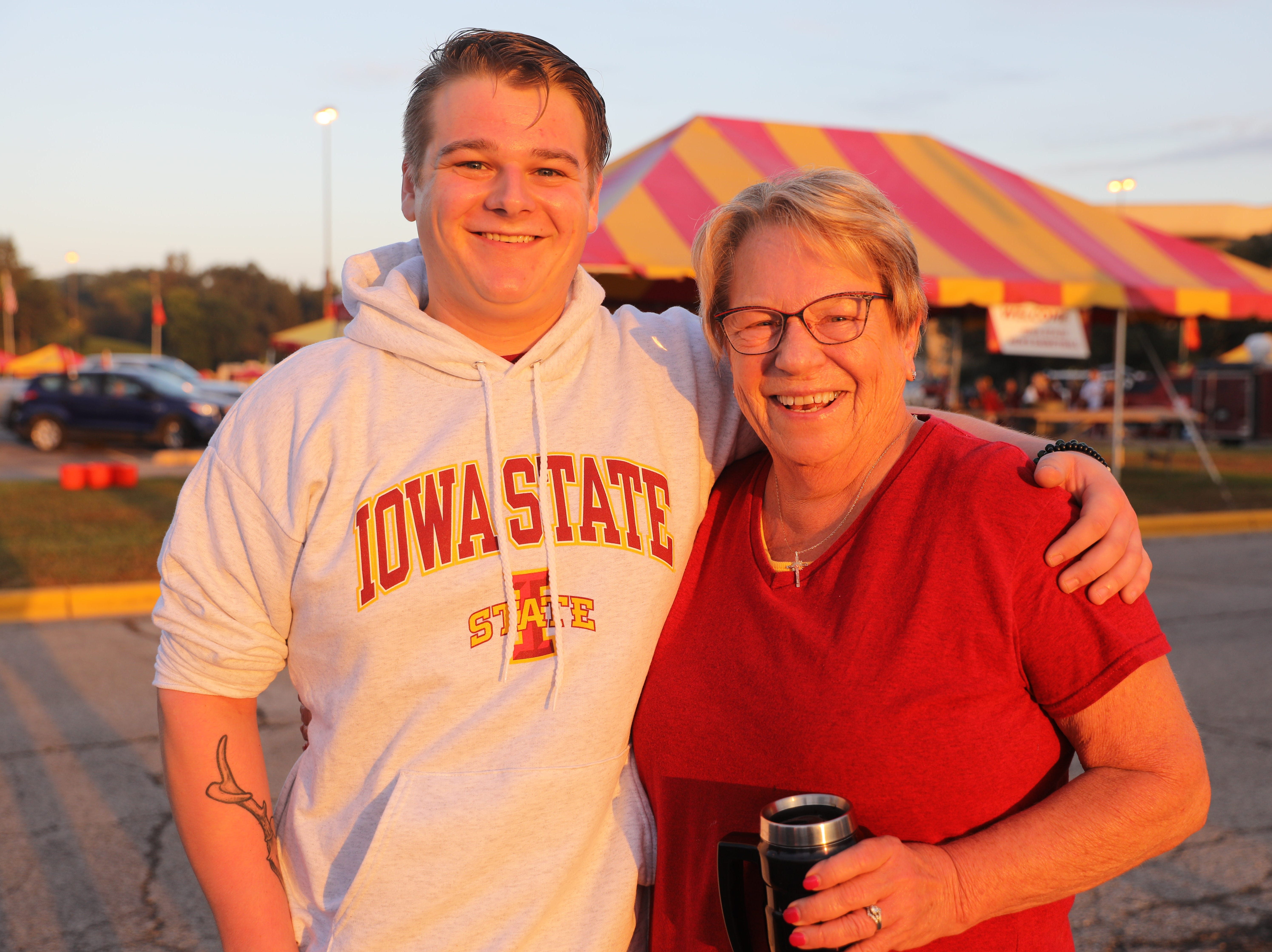 Jeremy Grzywacz, 21, of Ames and Barb Grzywacz of Huxley Saturday, Sept. 15, 2018, before the Iowa State football game against Oklahoma in Ames.