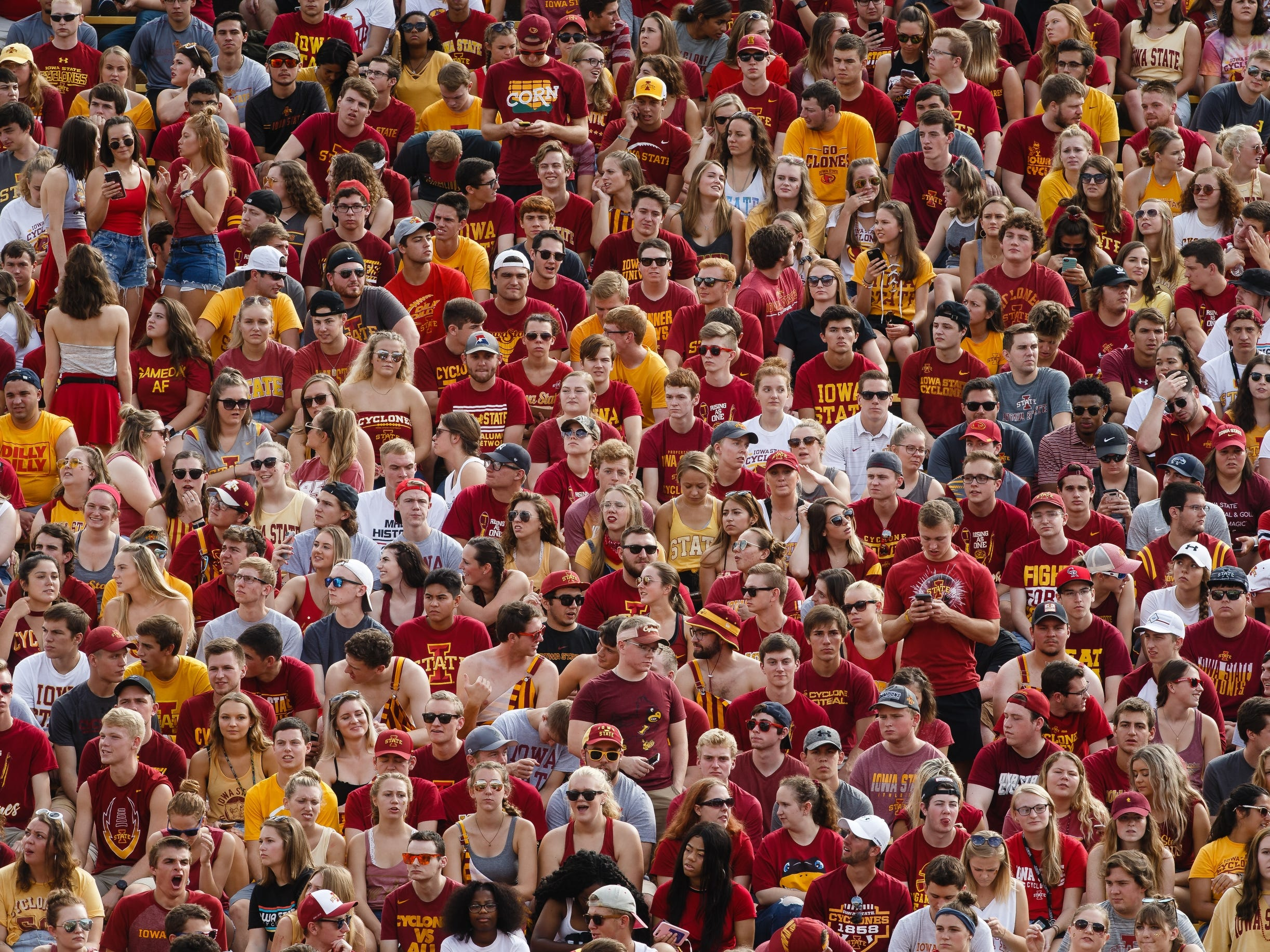 ISU fans wait for the start of the Oklahoma game at Jack Trice Stadium on Saturday, Sept. 15, 2018 in Ames.