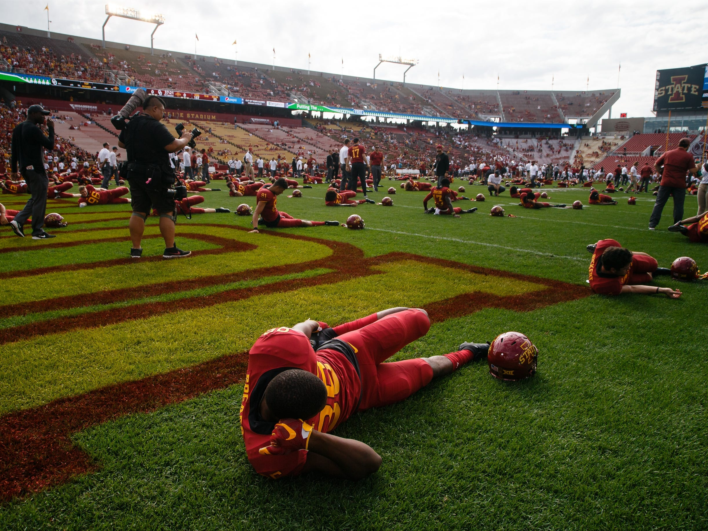 Iowa State players warm up before their football game against Oklahoma at Jack Trice Stadium on Saturday, Sept. 15, 2018 in Ames. Oklahoma takes a 24-10 lead into halftime.