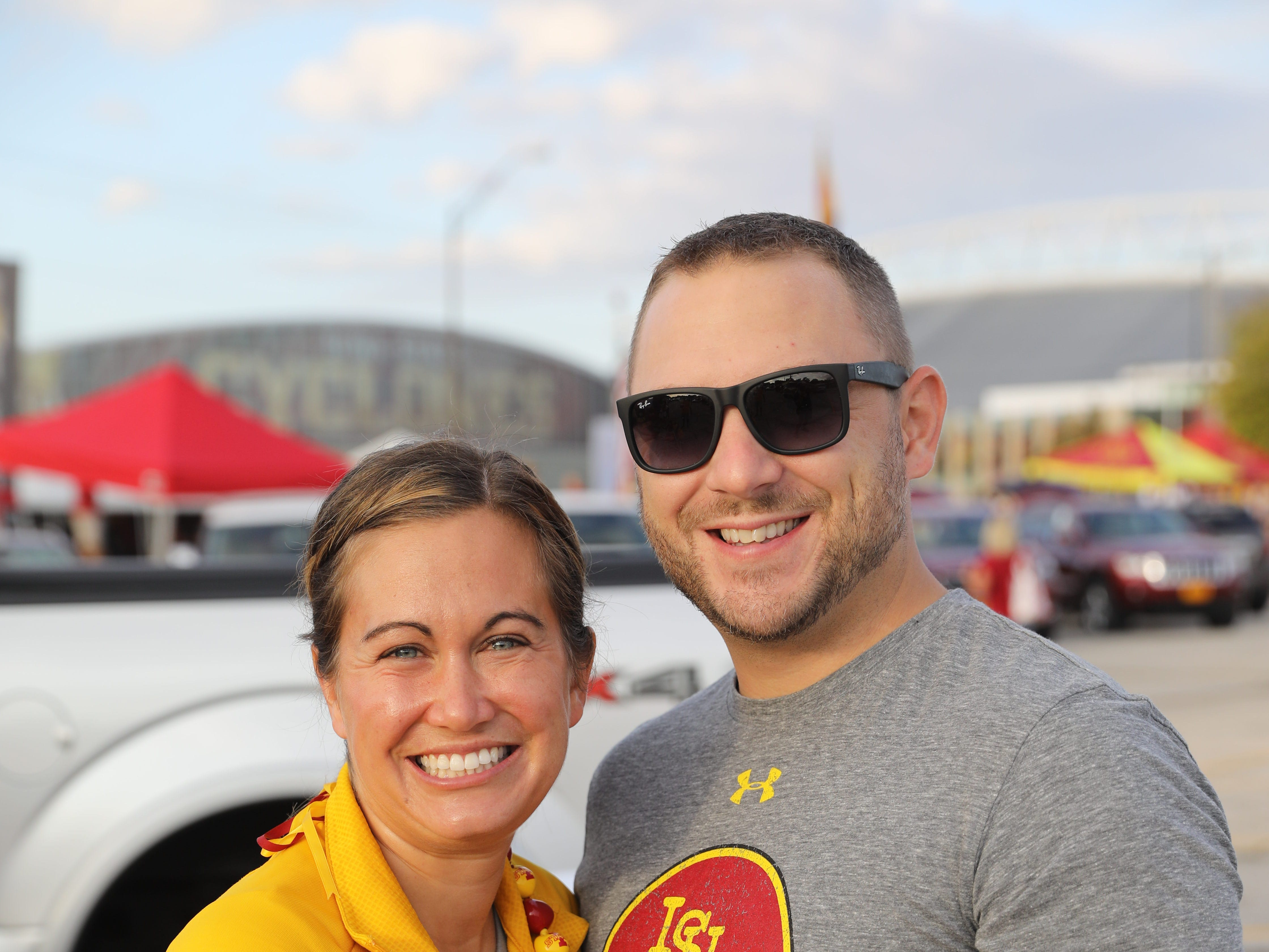 Elyse Rees and James LeBlanc, both of West Des Moines, Saturday, Sept. 15, 2018, before the Iowa State football game against Oklahoma in Ames.