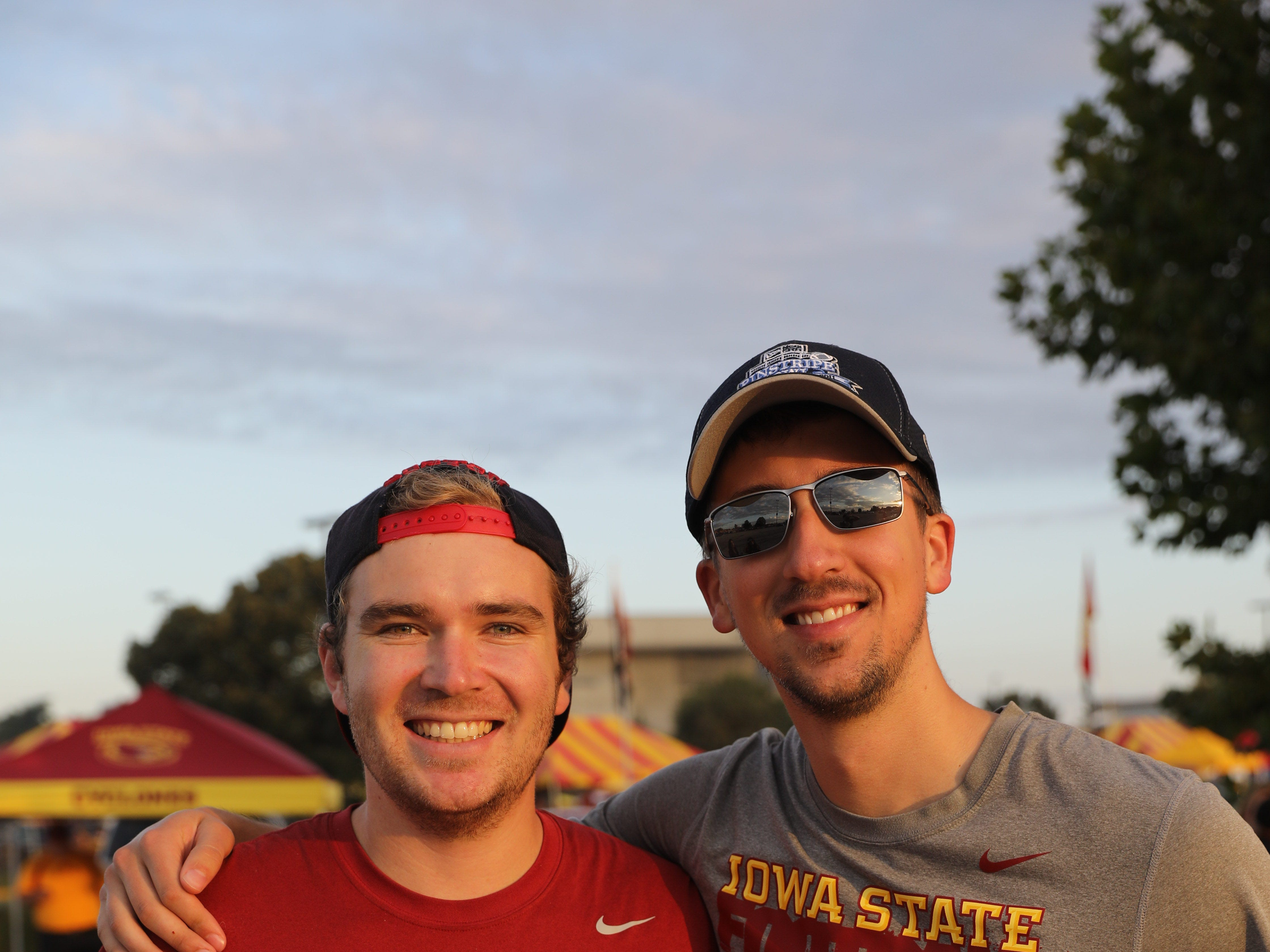 Cole Netten, 24, of Des Moines (left) and Kirby Vanderkamp, 26, of Denver, Saturday, Sept. 15, 2018, before the Iowa State football game against Oklahoma in Ames.