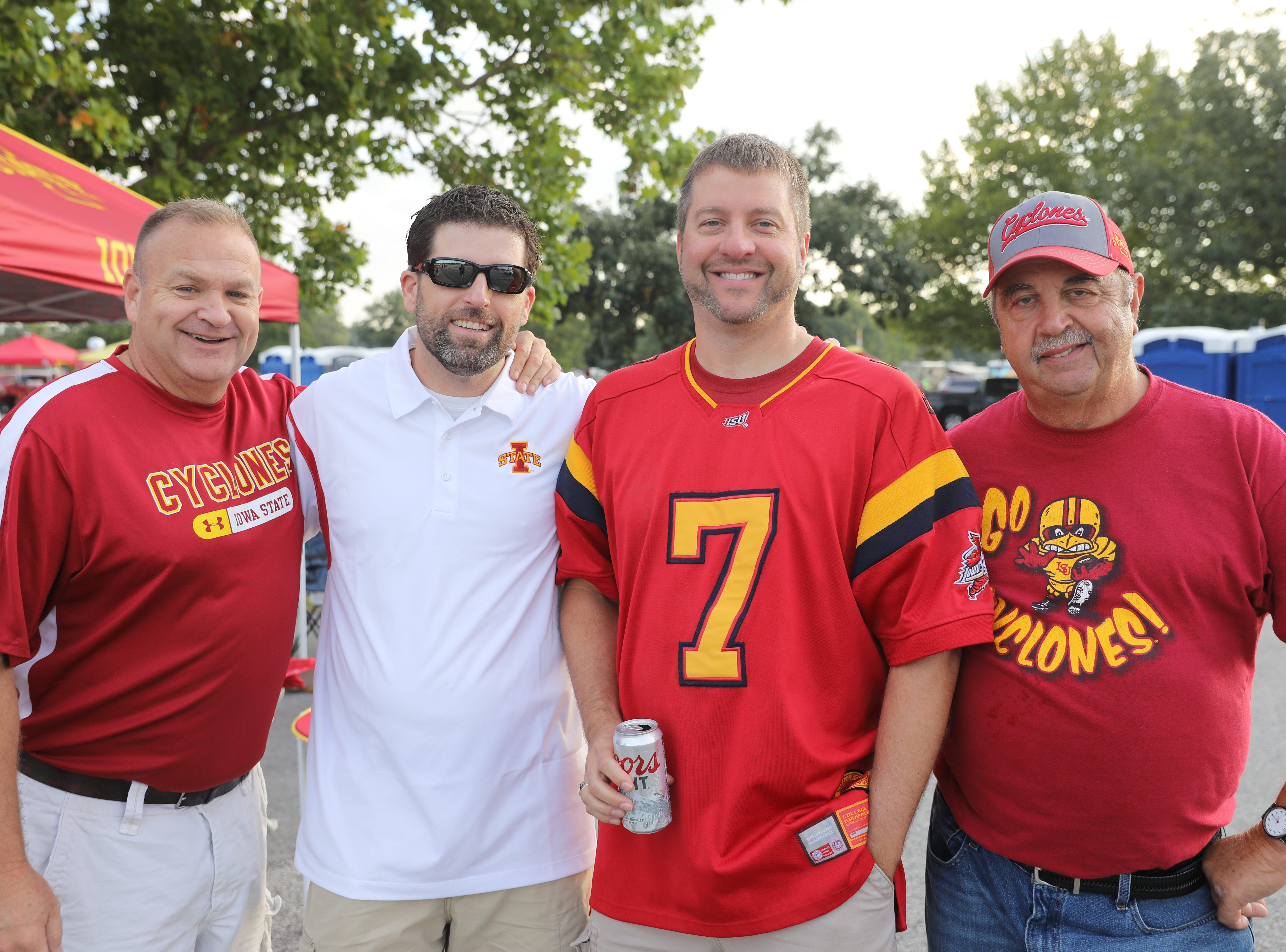 Steve Schuster (from left), Cory Vaudt, James Woerdeman, all of Ankeny, and Bernie Woerdeman of St. Paul, Iowa Saturday, Sept. 15, 2018, before the Iowa State football game against Oklahoma in Ames.