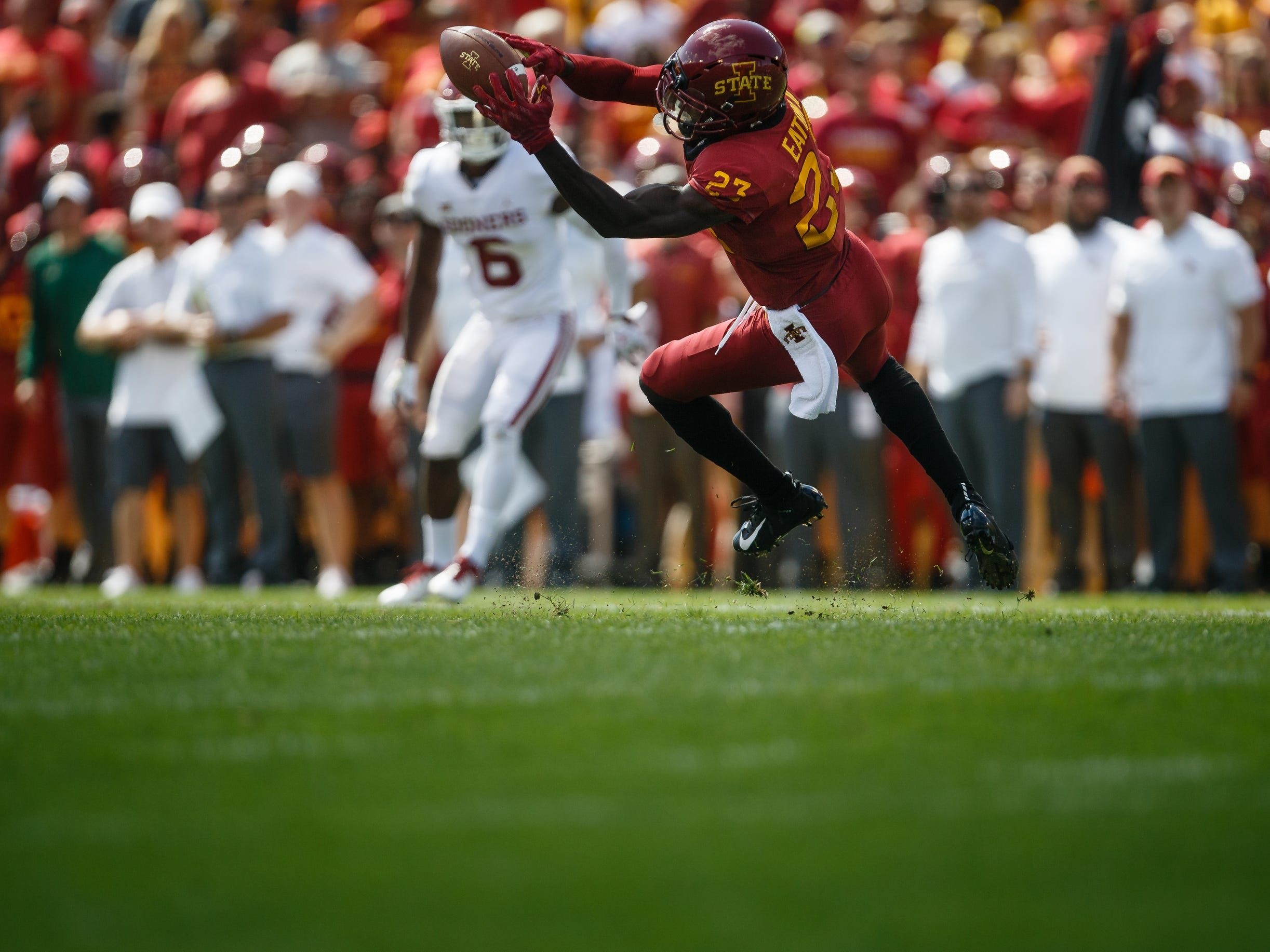 Iowa State's Matthew Eaton (23) makes a catch during their football game against Oklahoma at Jack Trice Stadium on Saturday, Sept. 15, 2018 in Ames. Oklahoma would go on to win 37-27.