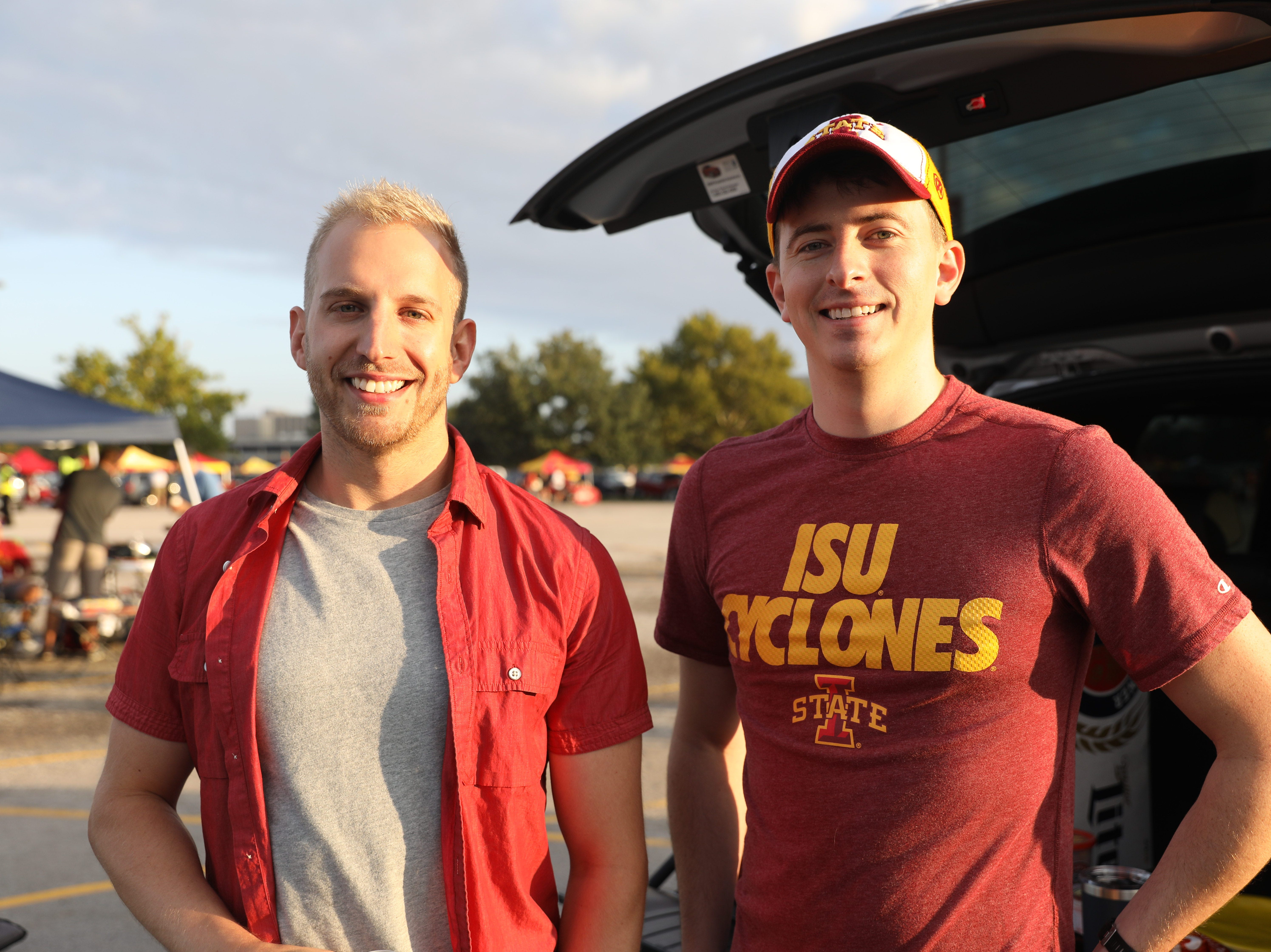 Grant Naschke, 27, (left) and Jim Carey, 27, both of Minneapolis, Saturday, Sept. 15, 2018, before the Iowa State football game against Oklahoma in Ames.