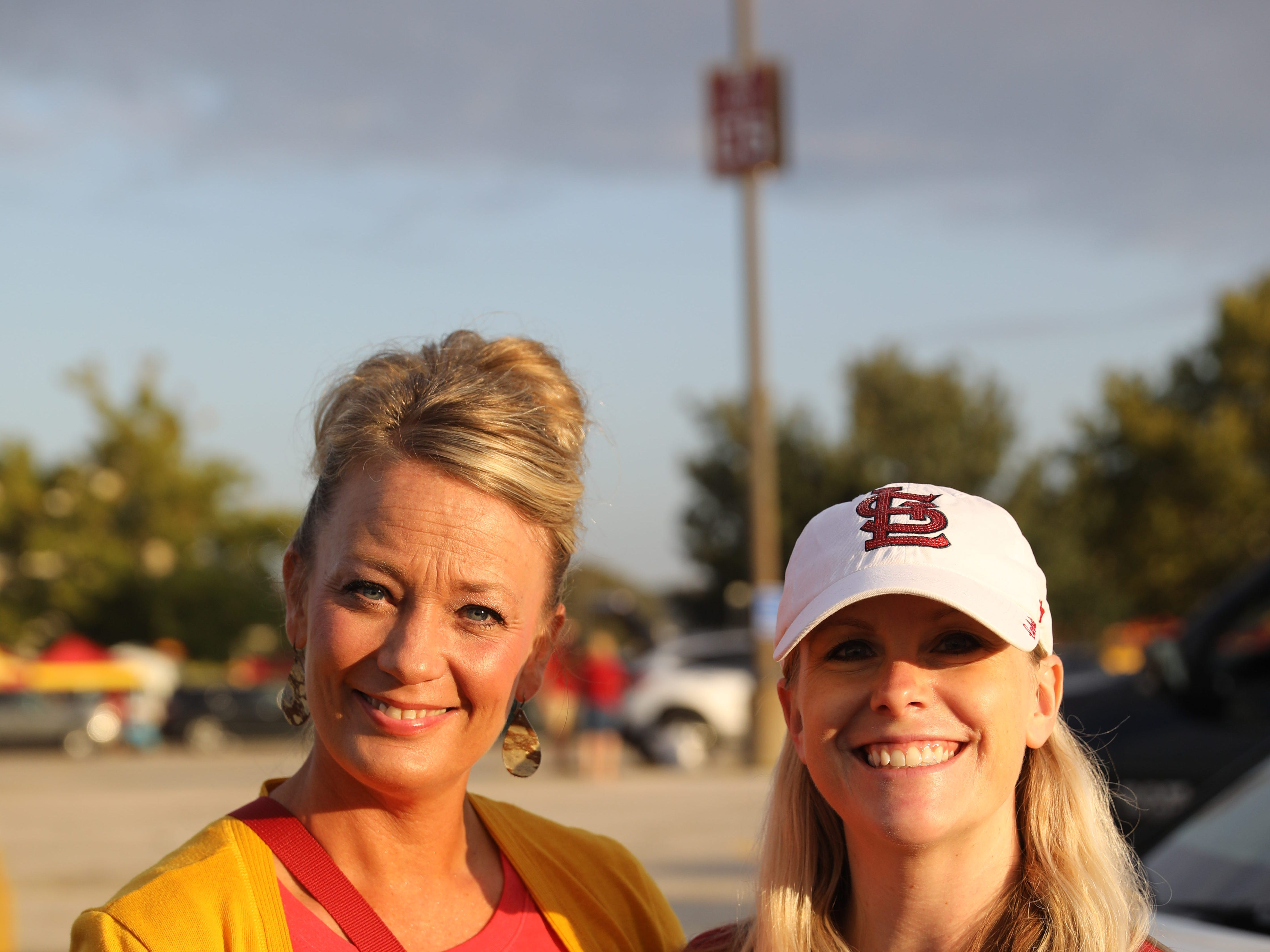 Toni Hamman of Madrid (left) and Sheena Nuetzman of Urbandale, Saturday, Sept. 15, 2018, before the Iowa State football game against Oklahoma in Ames.