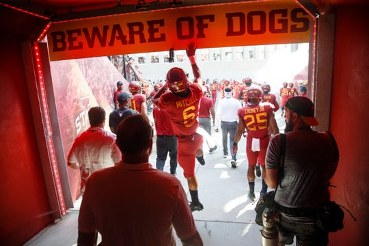 Iowa State's Re-al Mitchell (6) runs out of the tunnel before before their football game against Oklahoma at Jack Trice Stadium on Saturday, Sept. 15, 2018 in Ames. Oklahoma takes a 24-10 lead into halftime.