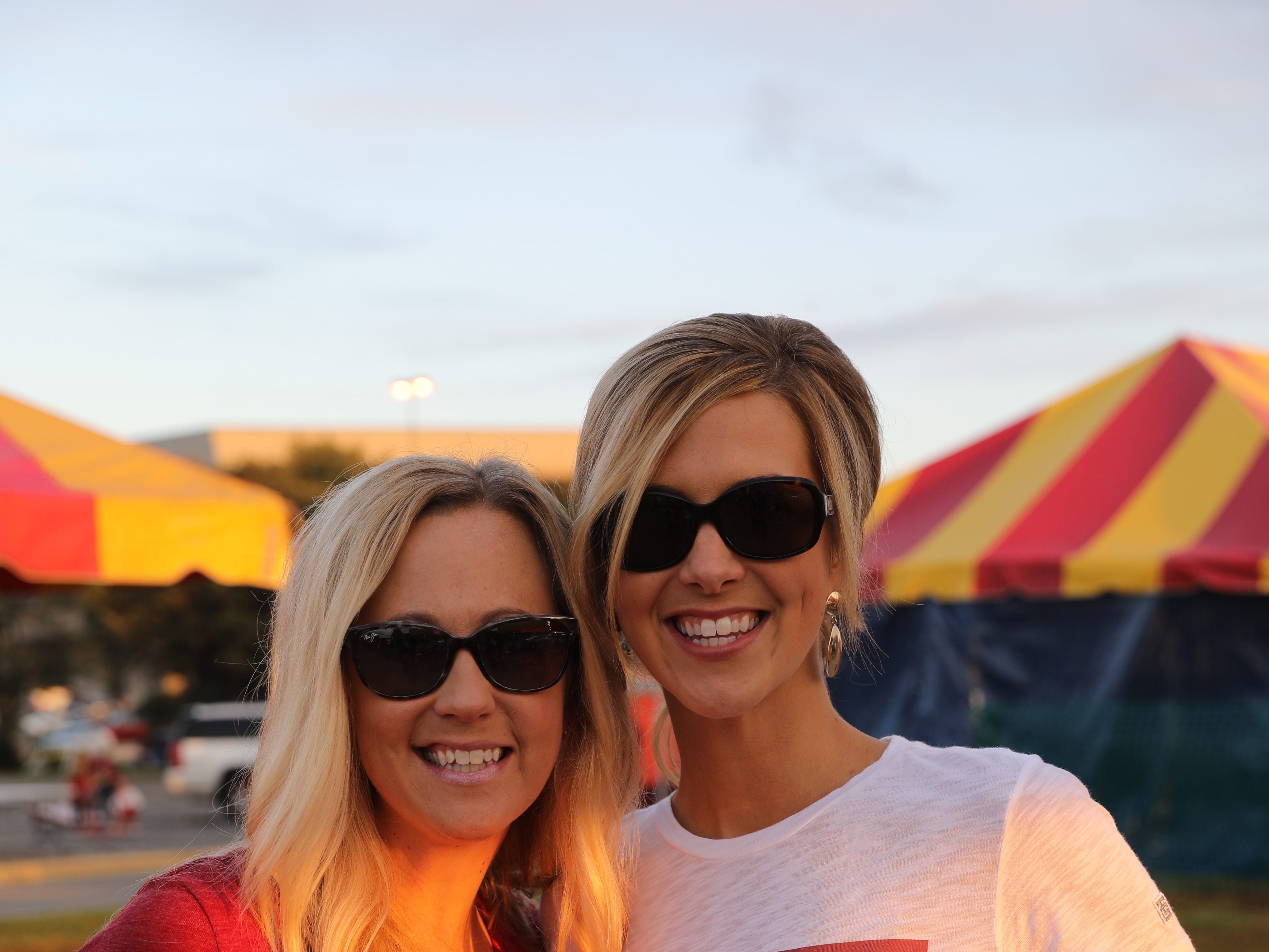 Krista Christensen of West Des Moines (left) and Laura Jackovin of Clive Saturday, Sept. 15, 2018, before the Iowa State football game against Oklahoma in Ames.