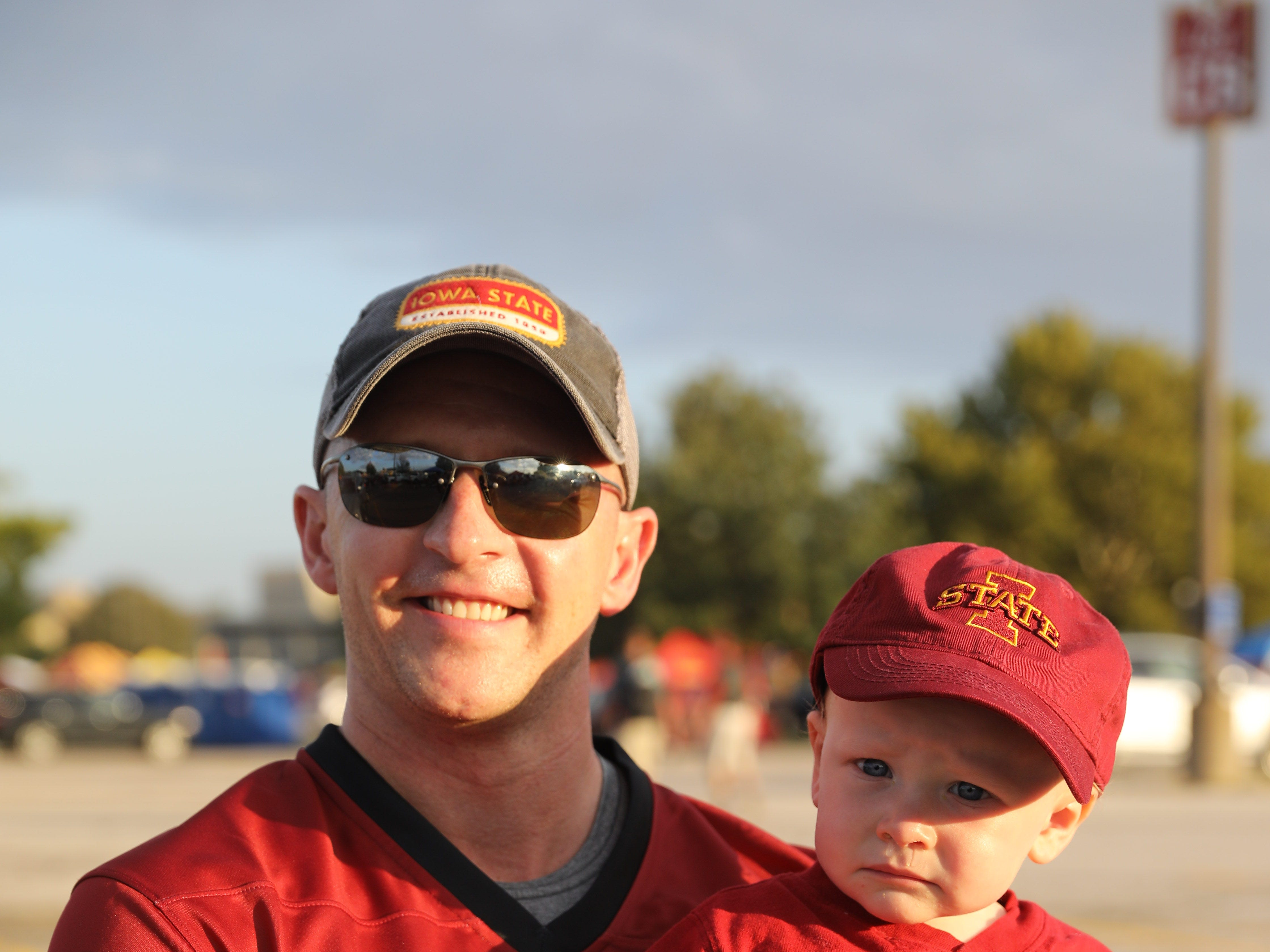Matt Nuetzman and Jack Nuetzman, 1, both of Urbandale, Saturday, Sept. 15, 2018, before the Iowa State football game against Oklahoma in Ames.