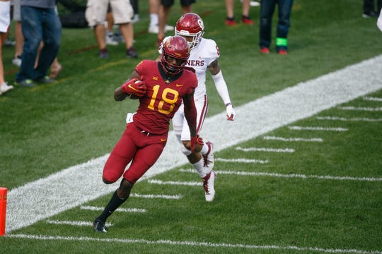Hakeem Butler strides into the end zone during Iowa State's football game at Jack Trice Stadium on Saturday vs. Oklahoma in Ames. Oklahoma would go on to win, 37-27.