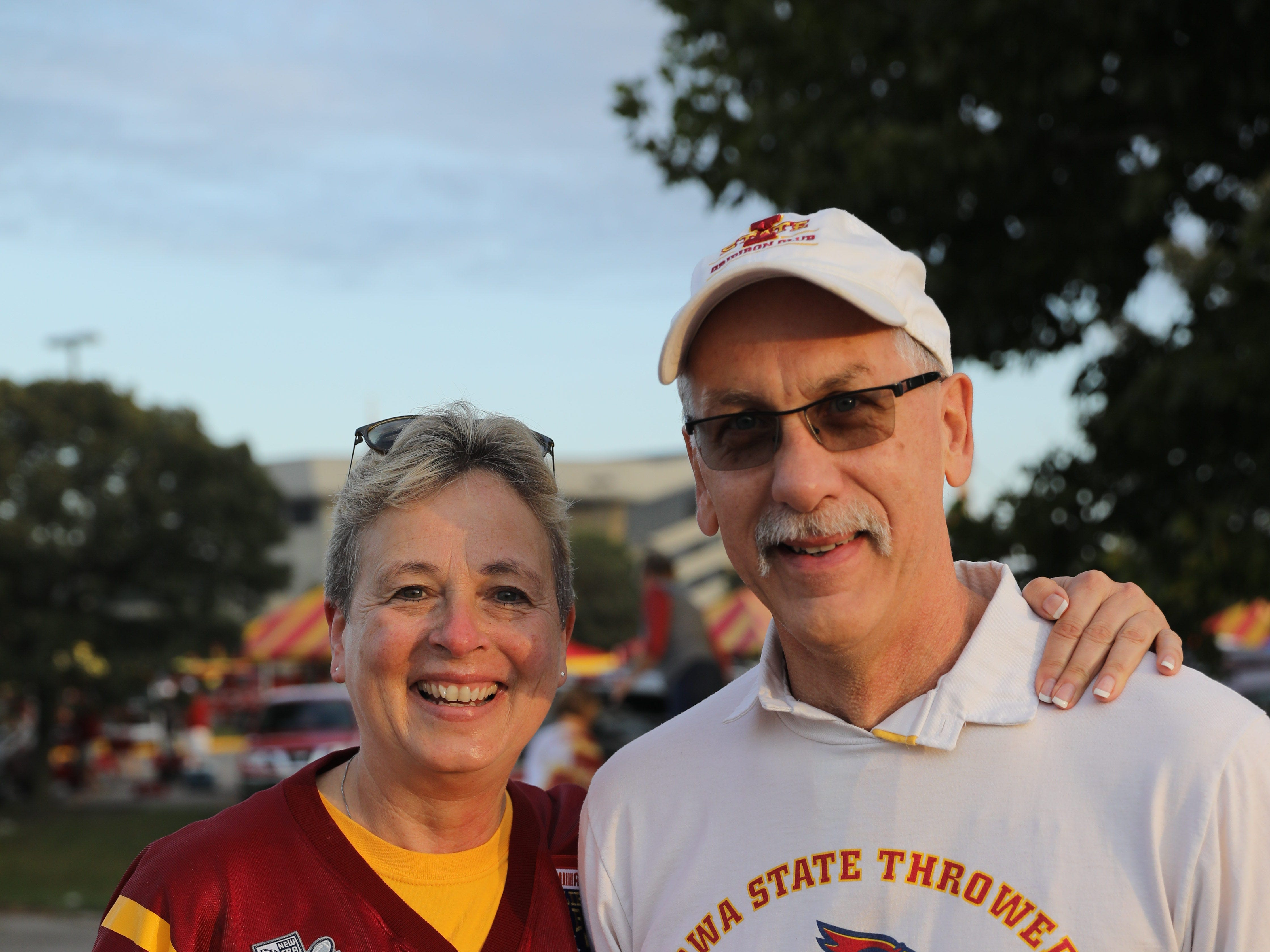 Sal Vanderkamp and Ron Vanderkamp of West Des Moines Saturday, Sept. 15, 2018, before the Iowa State football game against Oklahoma in Ames.