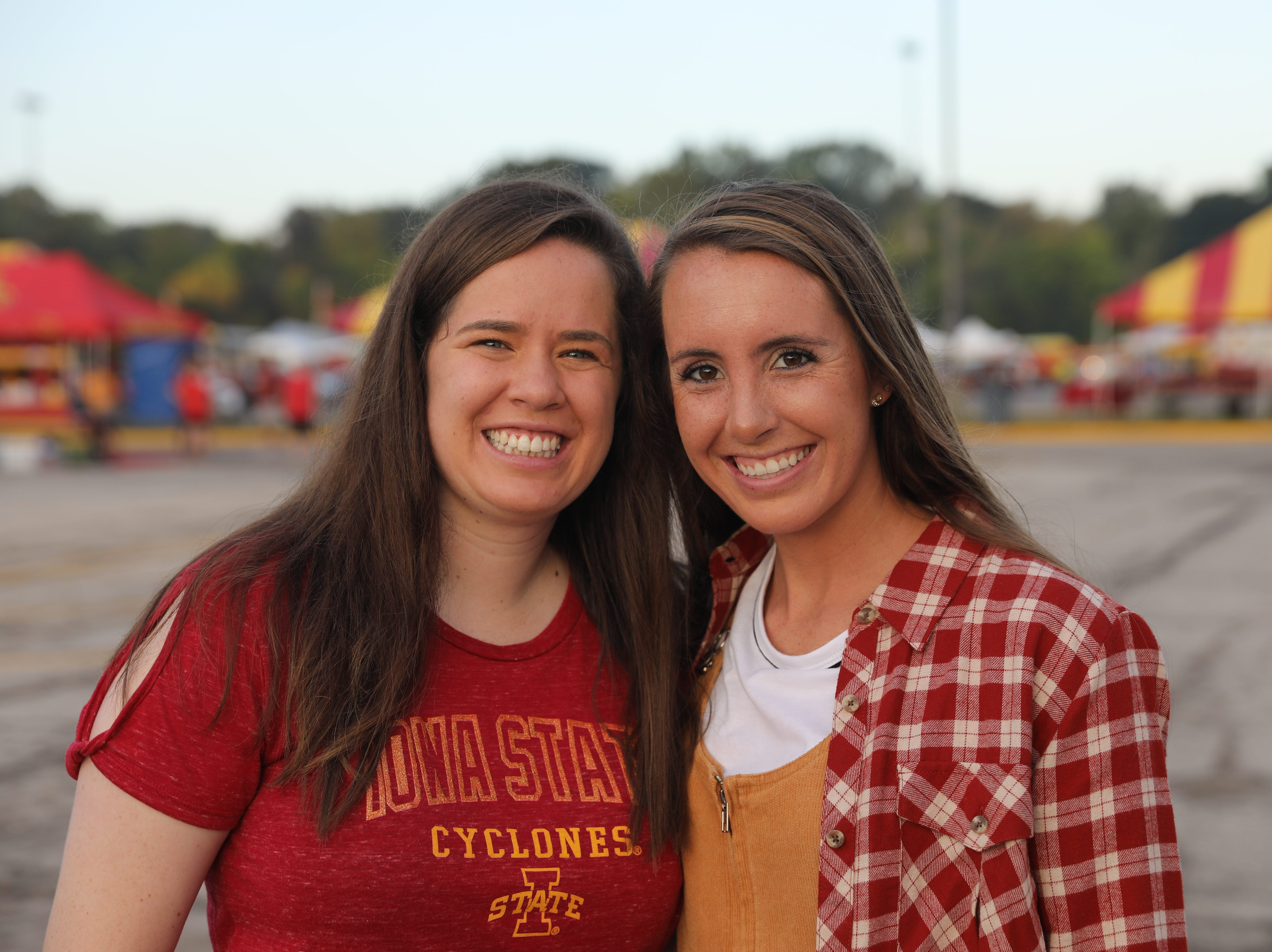 Haley Murphy, 24, of Des Moines (left) and Adalie Schmidt, 23, of Fargo, ND, Saturday, Sept. 15, 2018, before the Iowa State football game against Oklahoma in Ames.