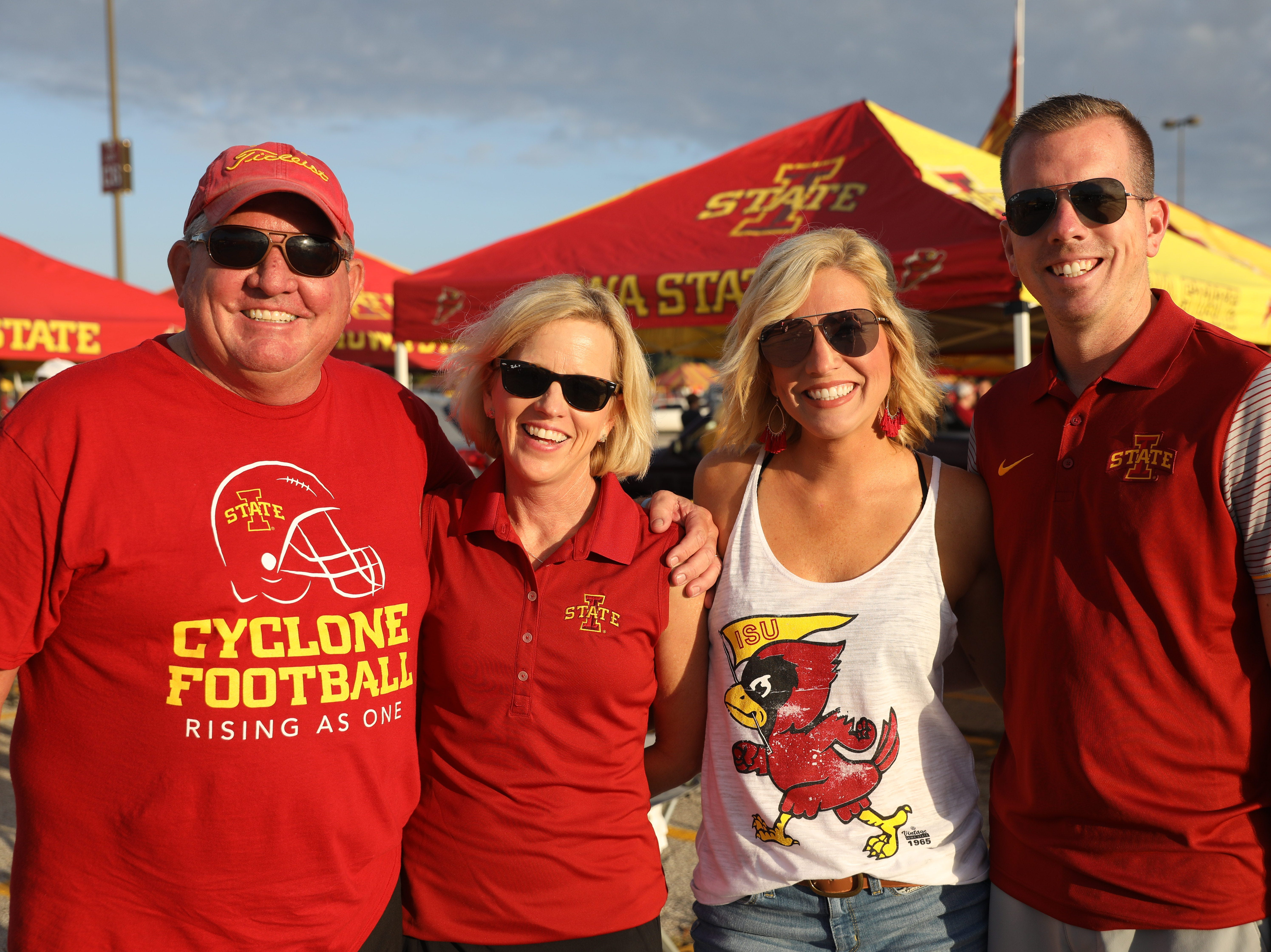 Ron Lickteig (from left), Linda Lickteig, both of Johnston, Jen Cross of Ankeny and John Lickteig of Clive Saturday, Sept. 15, 2018, before the Iowa State football game against Oklahoma in Ames.