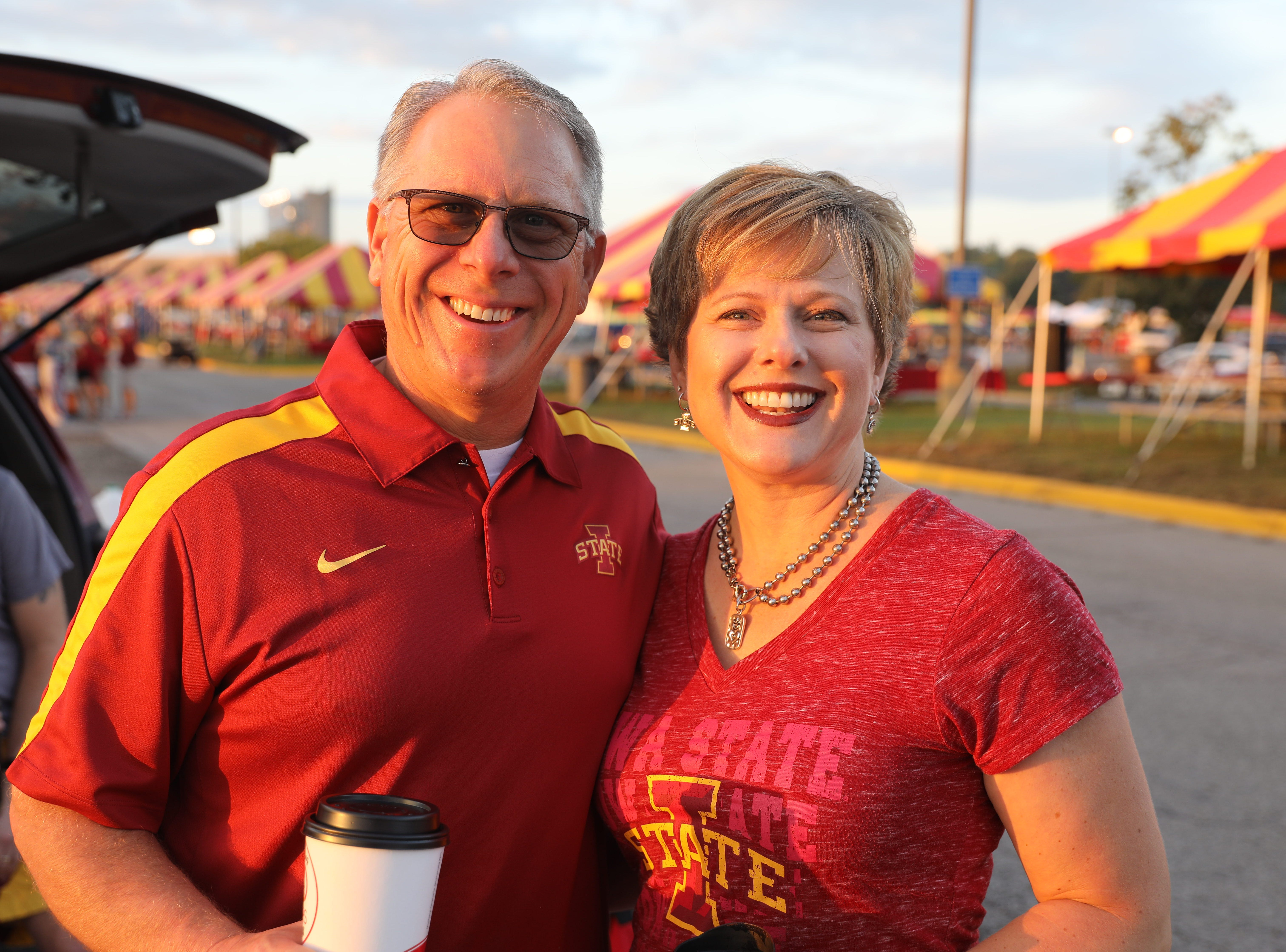 John and Kim Grzywacz of Huxley Saturday, Sept. 15, 2018, before the Iowa State football game against Oklahoma in Ames.