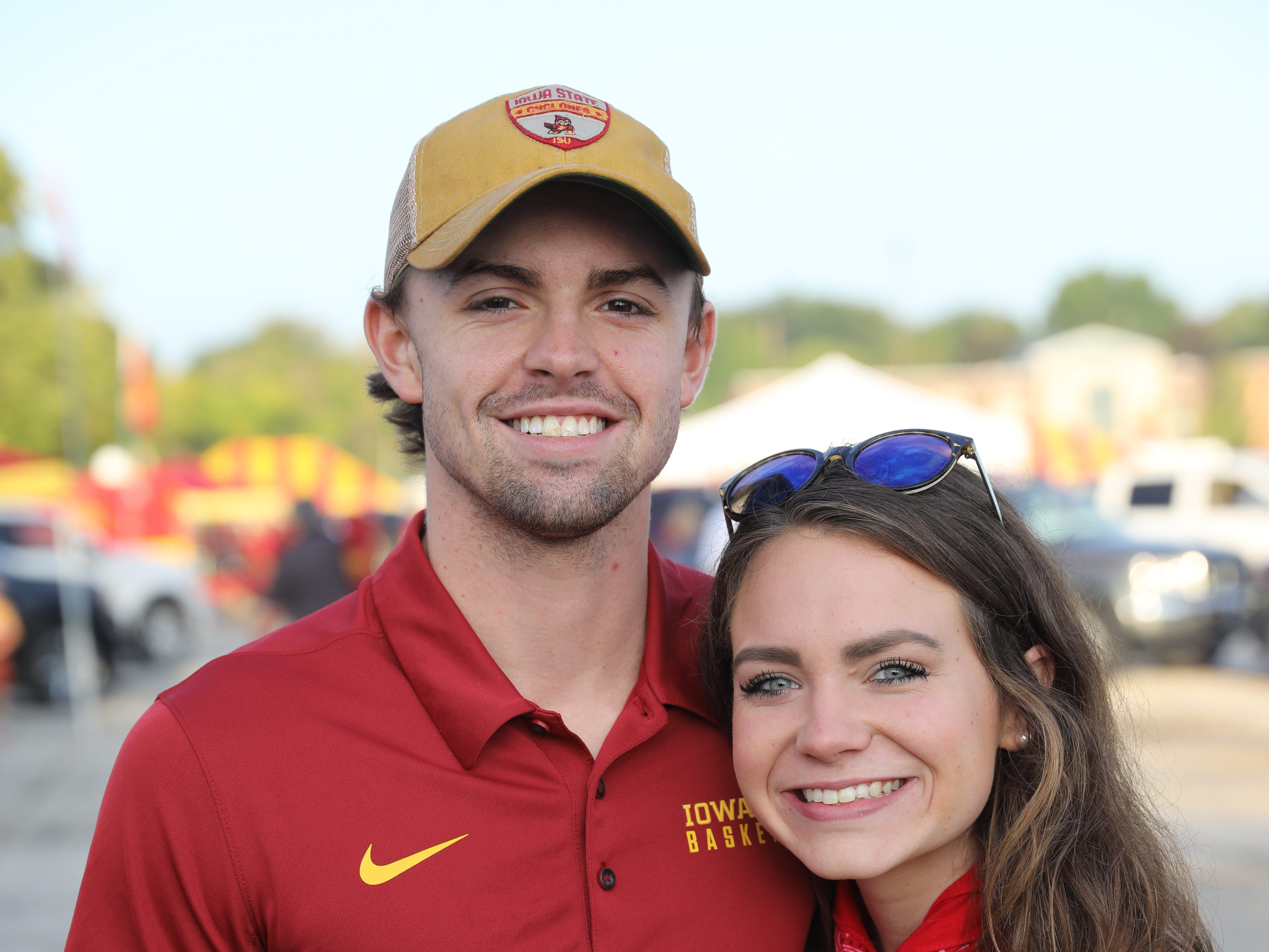 Cade Niblo, 21, of Ames, and Grace Nordquist, 20, of Sioux City, Saturday, Sept. 15, 2018, before the Iowa State football game against Oklahoma in Ames.