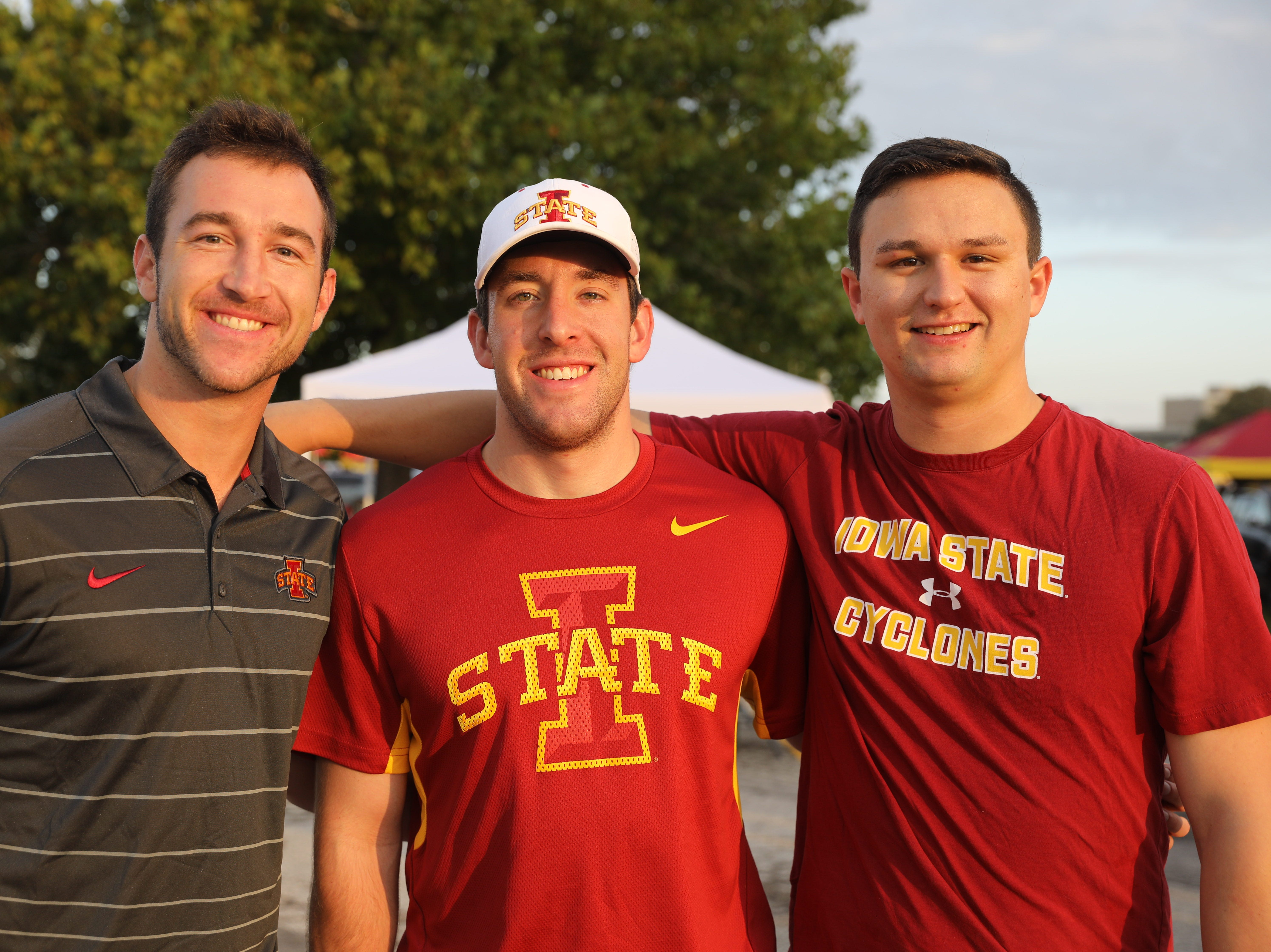 Josh Jahlas, 24, (from left) Tanner Tusha, 25, both of Des Moines, and Zach Johnson, 24, of Minneapolis, Saturday, Sept. 15, 2018, before the Iowa State football game against Oklahoma in Ames.