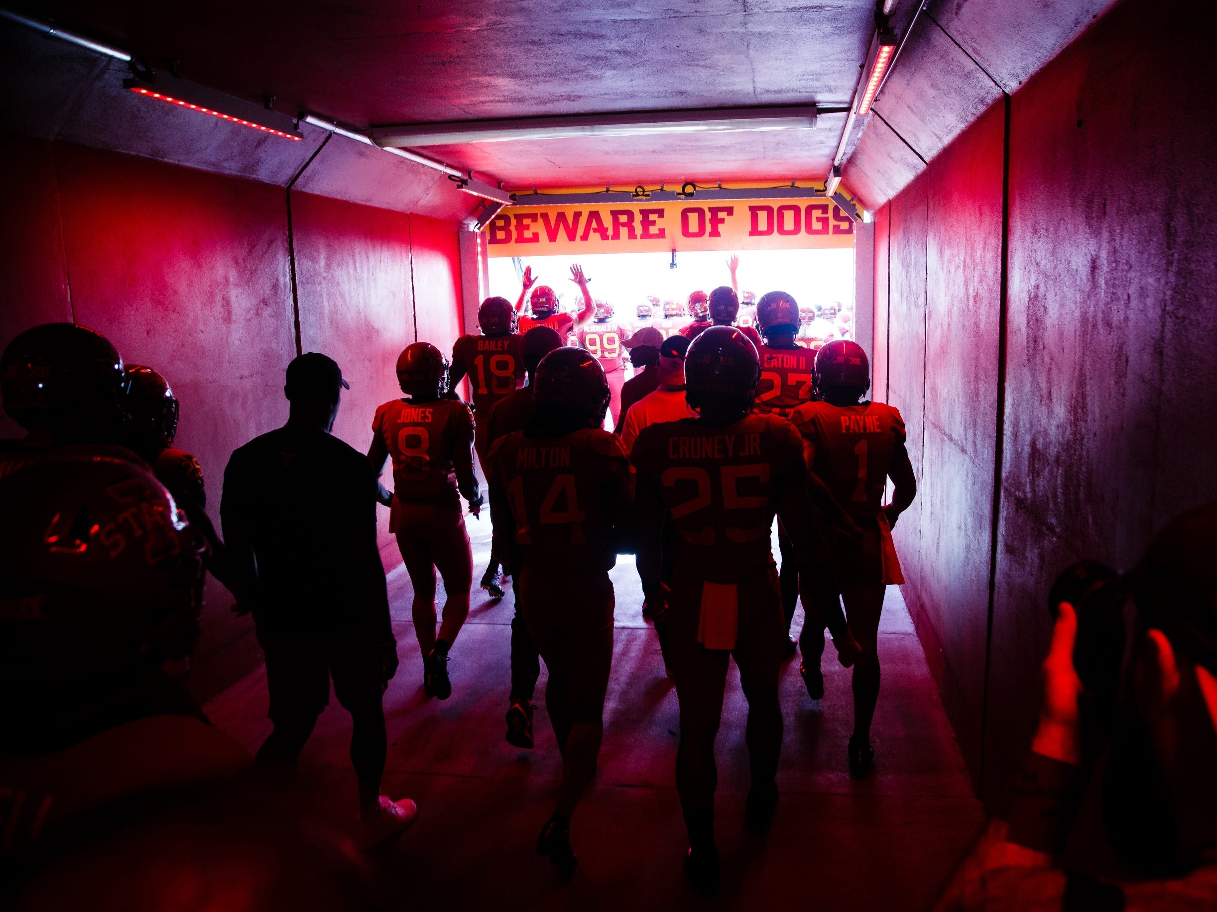 The Iowa State football team walks out of the tunnel and onto the field before taking on Oklahoma at Jack Trice Stadium on Saturday, Sept. 15, 2018 in Ames. Oklahoma would go on to win 37-27.