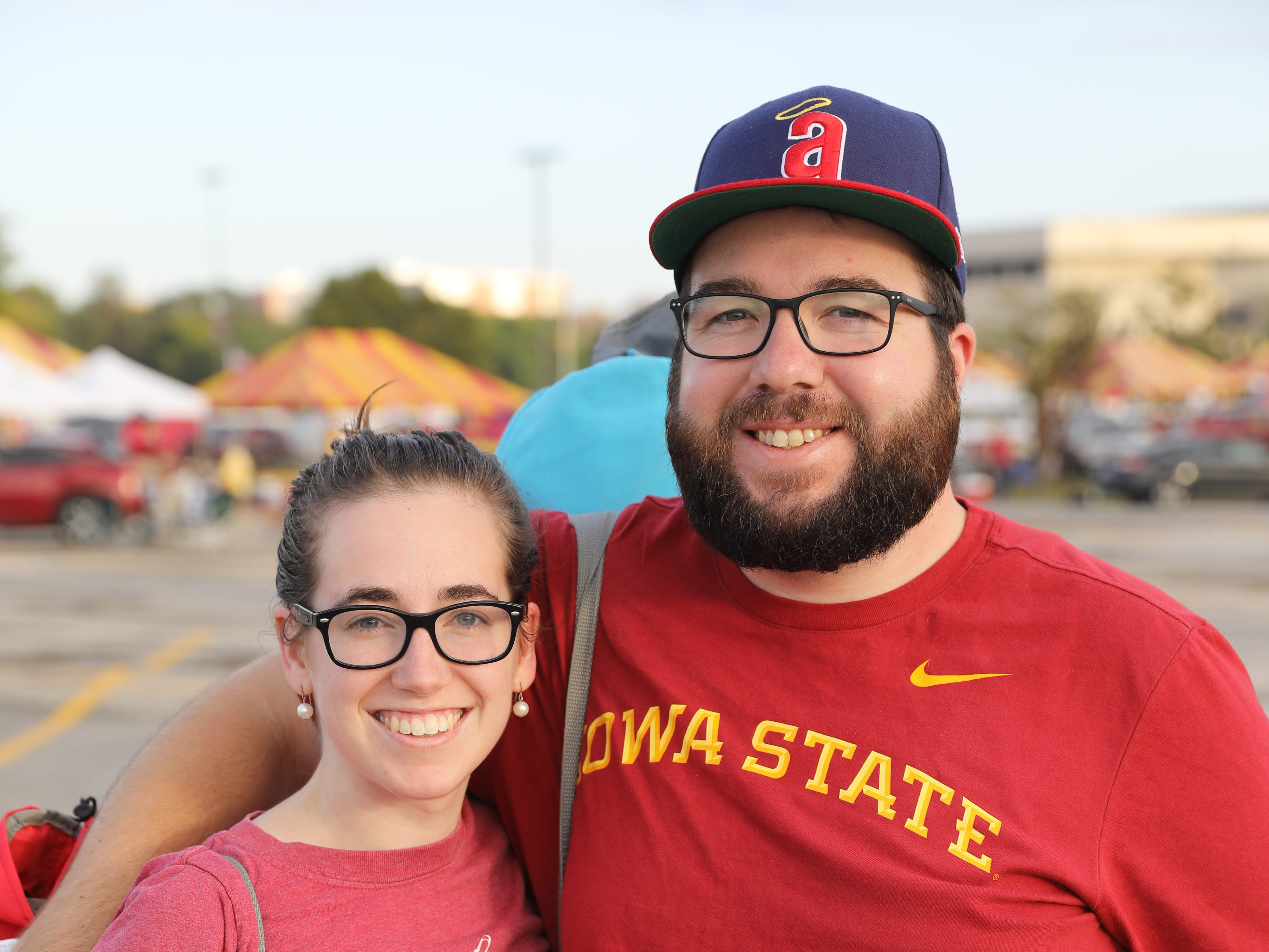 Rebecca Sheehe, 28, and Casey Sheehy, 27, both of Chicago, Saturday, Sept. 15, 2018, before the Iowa State football game against Oklahoma in Ames.