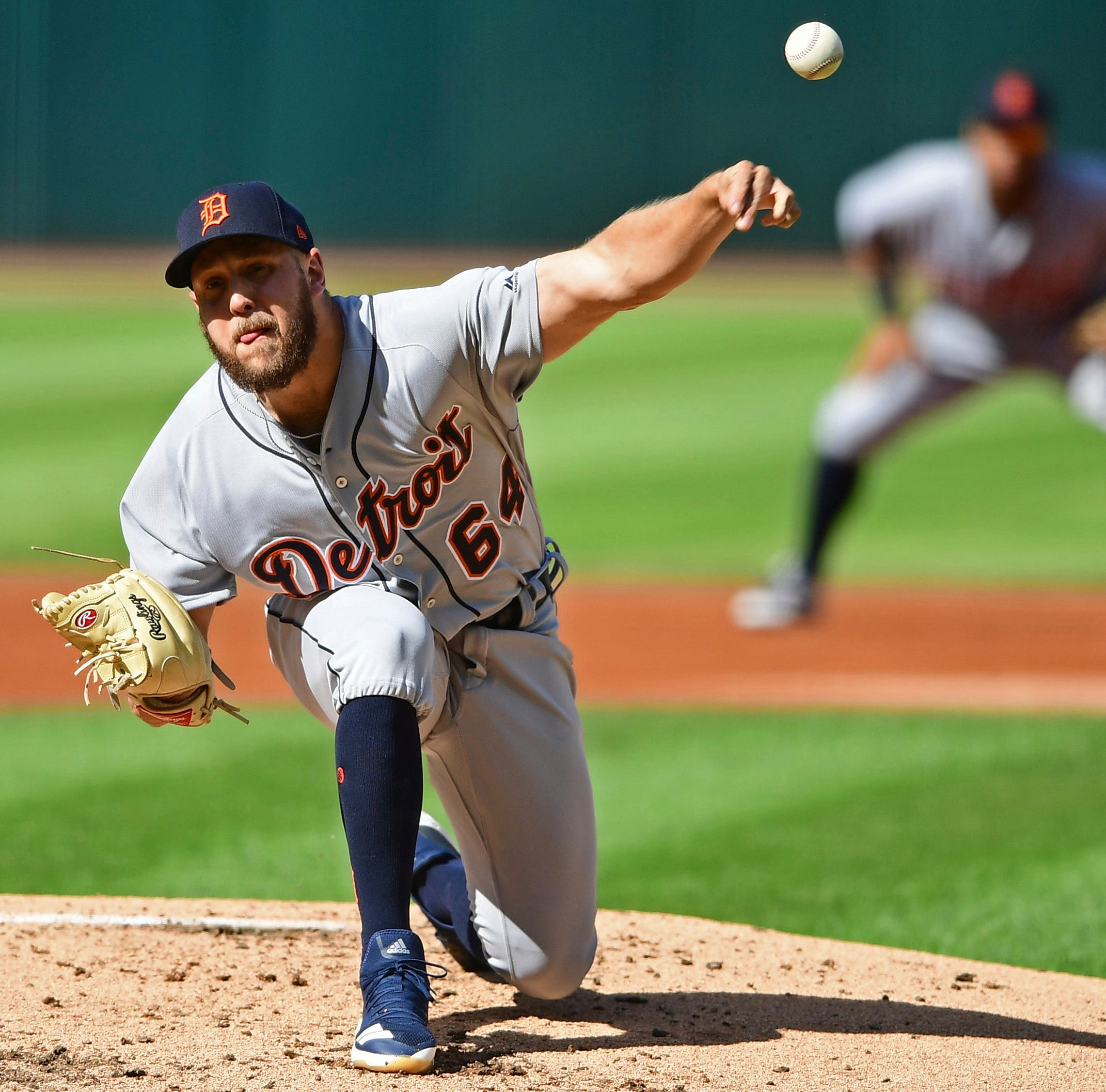Tigers pitcher Matt Hall delivers in the first inning on Saturday in Cleveland.