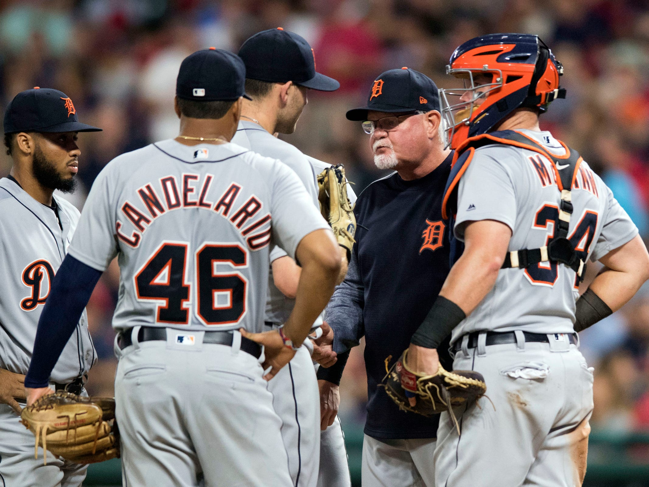 Detroit Tigers manager Ron Gardenhire removes starting pitcher Matthew Boyd from the game as catcher James McCann watches during the sixth inning against the Cleveland Indians at Progressive Field, Friday, Sept. 14, 2018, in Cleveland.