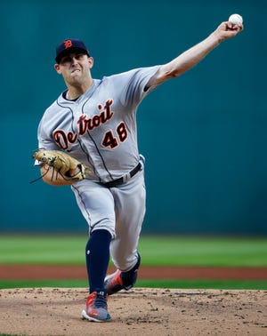 Detroit Tigers starting pitcher Matthew Boyd delivers against the Cleveland Indians during the first inning Friday, Sept. 14, 2018, in Cleveland.