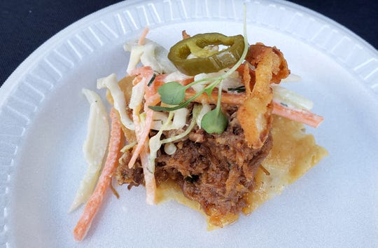 Grey Ghost served a short rib tostada with ranch coleslaw topped with pickled jalapeno.