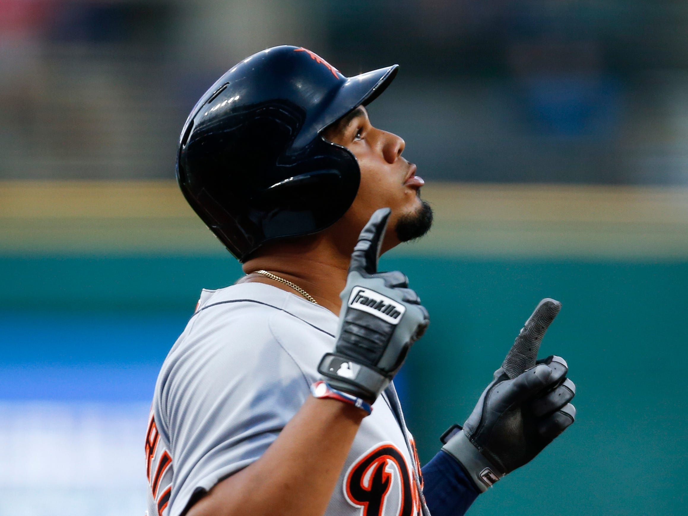 Detroit Tigers' Jeimer Candelario celebrates after hitting a solo home run off Cleveland Indians starting pitcher Josh Tomlin during the first inning Friday, Sept. 14, 2018, in Cleveland.