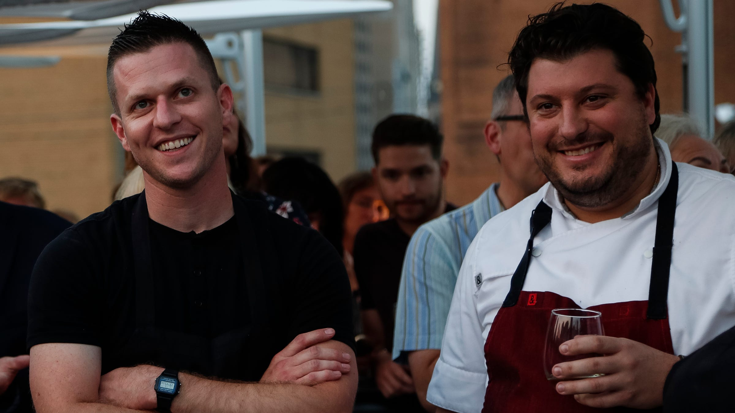 Chef John Vermiglio of Grey Ghost, left, and Anthony Lombardo of SheWolf, were being introduced to guests during the dinner to kick off the Free Press Wine & Food weekend at Lumen in downtown Detroit, Friday, September 14, 2018.